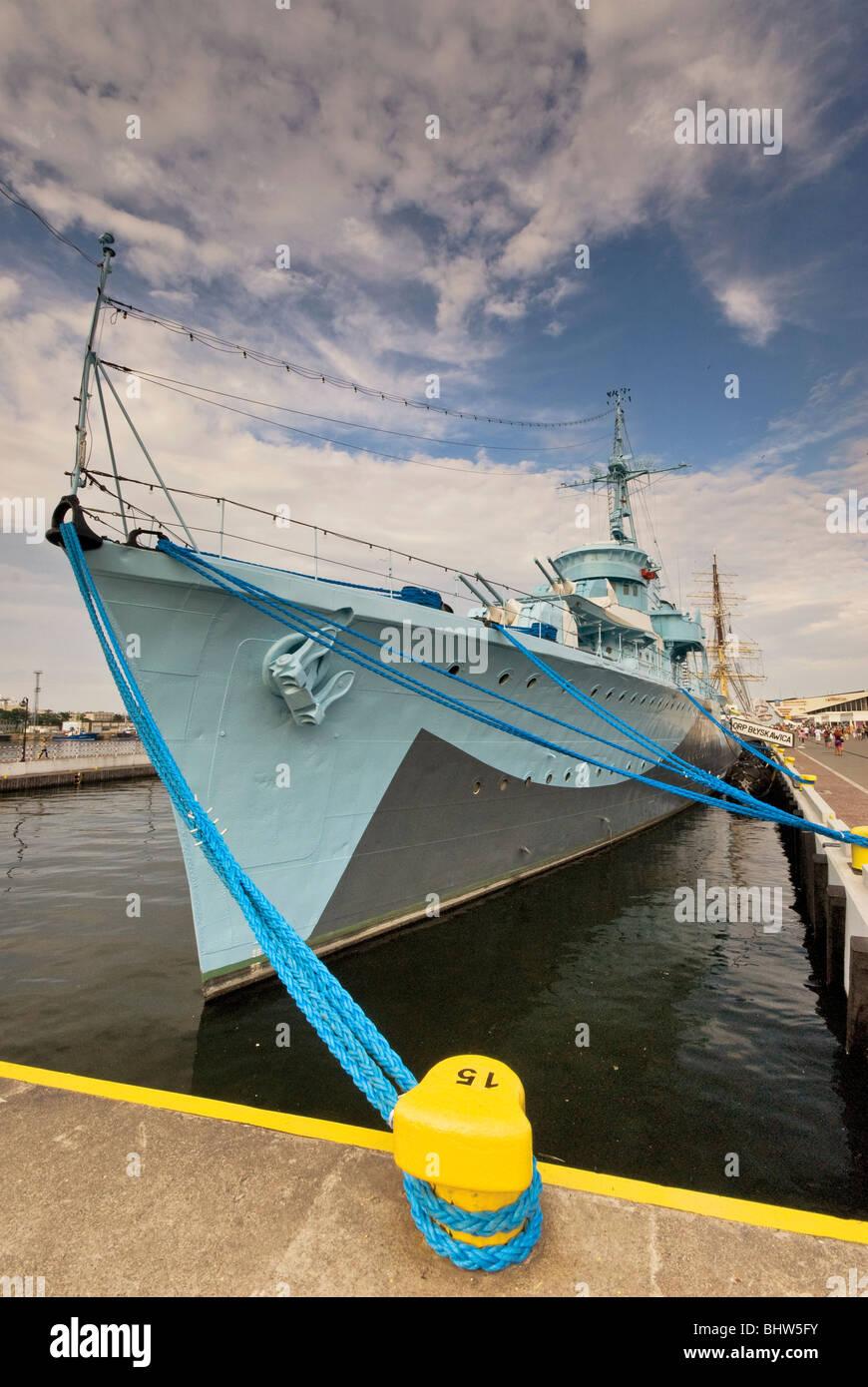 ORP Blyskawica WW2 museum warship at waterfront in Gdynia, Pomorskie, Poland - Stock Image