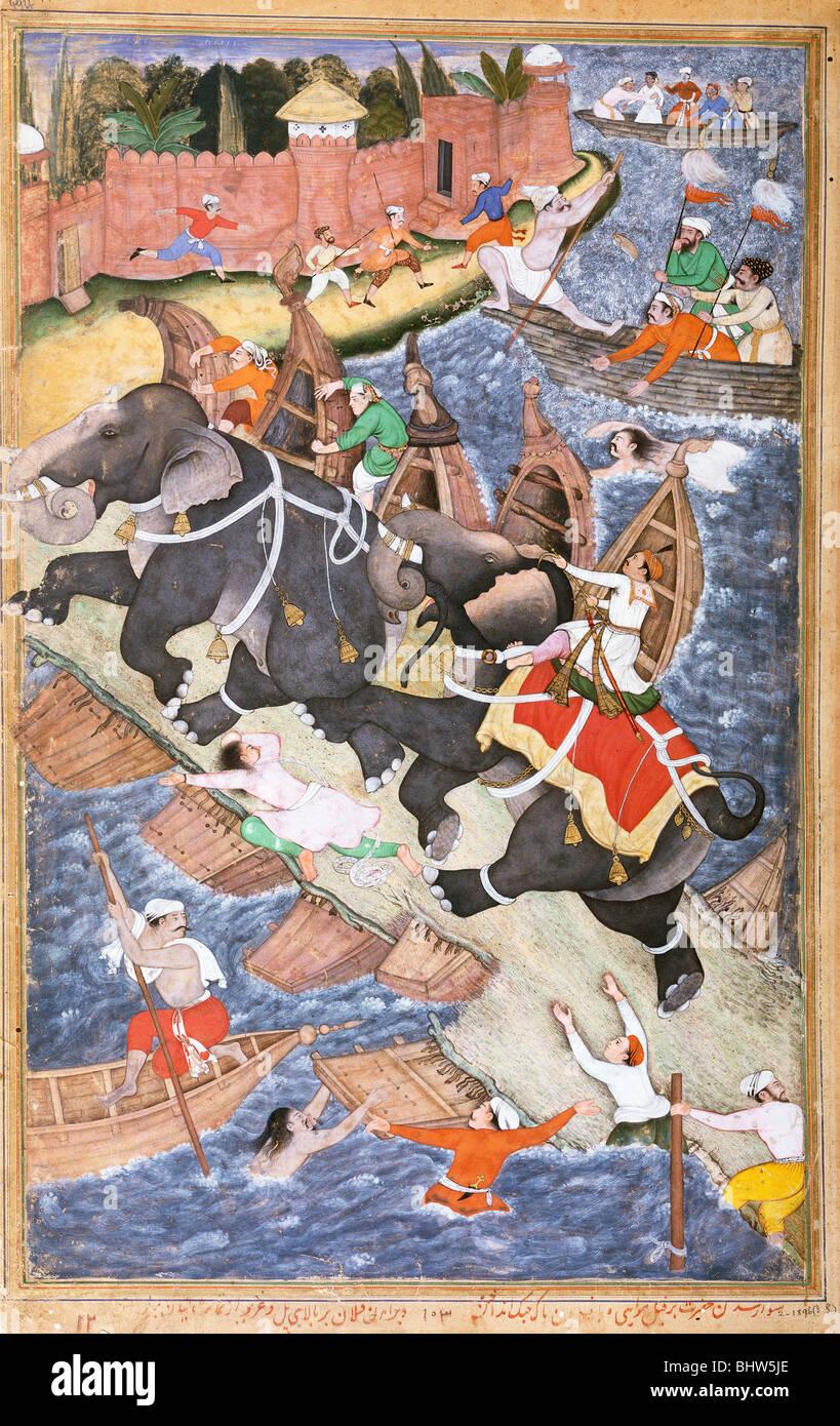 Akbar on The Elephant Hawai, by Basawan and Chetar. India, late 16th century - Stock Image