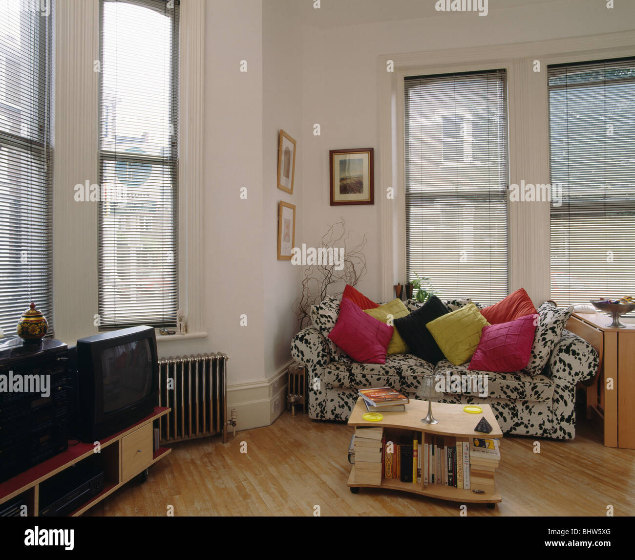 Picture of: Pink And Lime Green Cushions On Animal Print Sofa Front Of Windows In Stock Photo Alamy