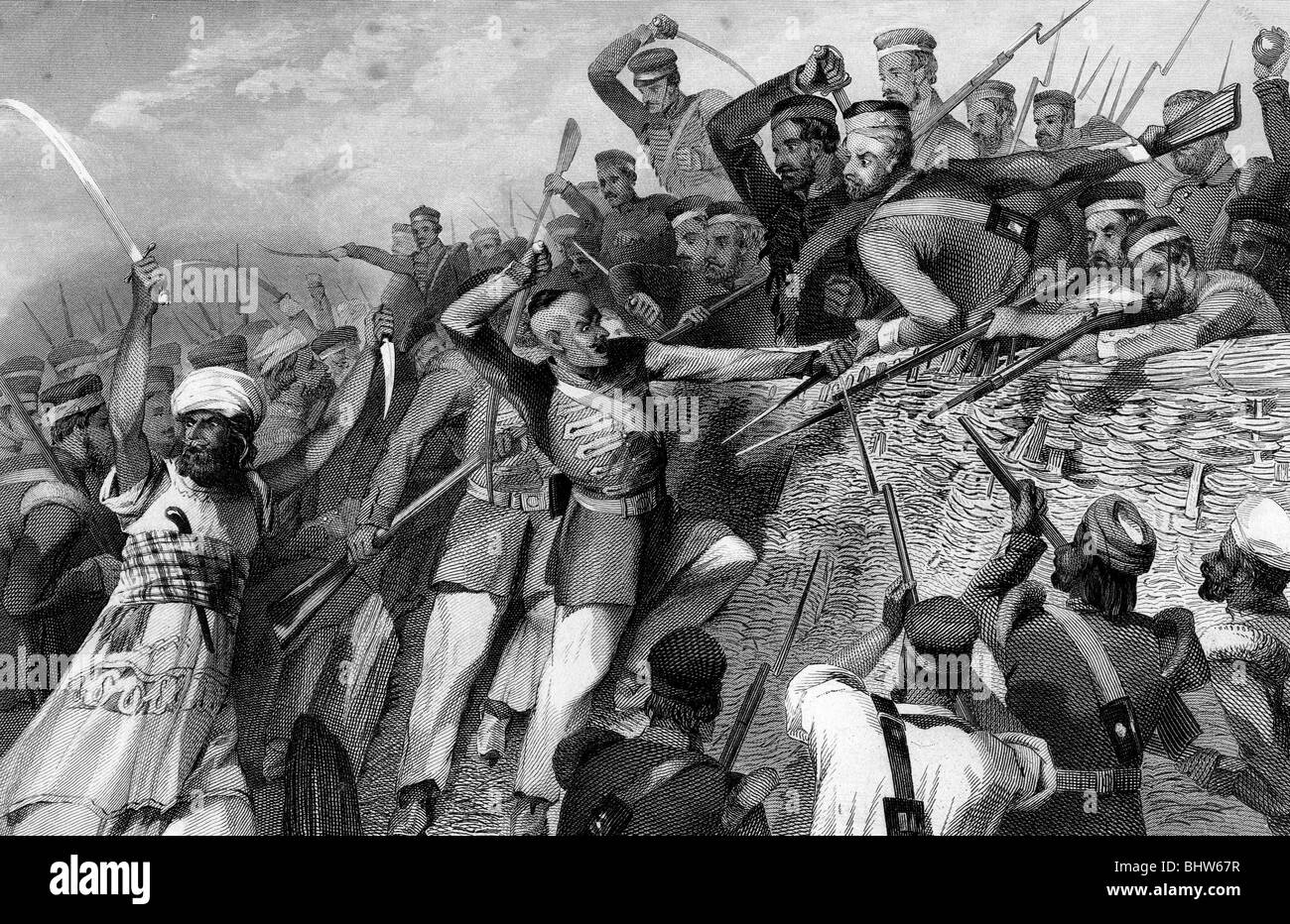 INDIAN MUTINY - Indian mutineers attack the Redan Battery at Lucknow 30 July 1857. - Stock Image