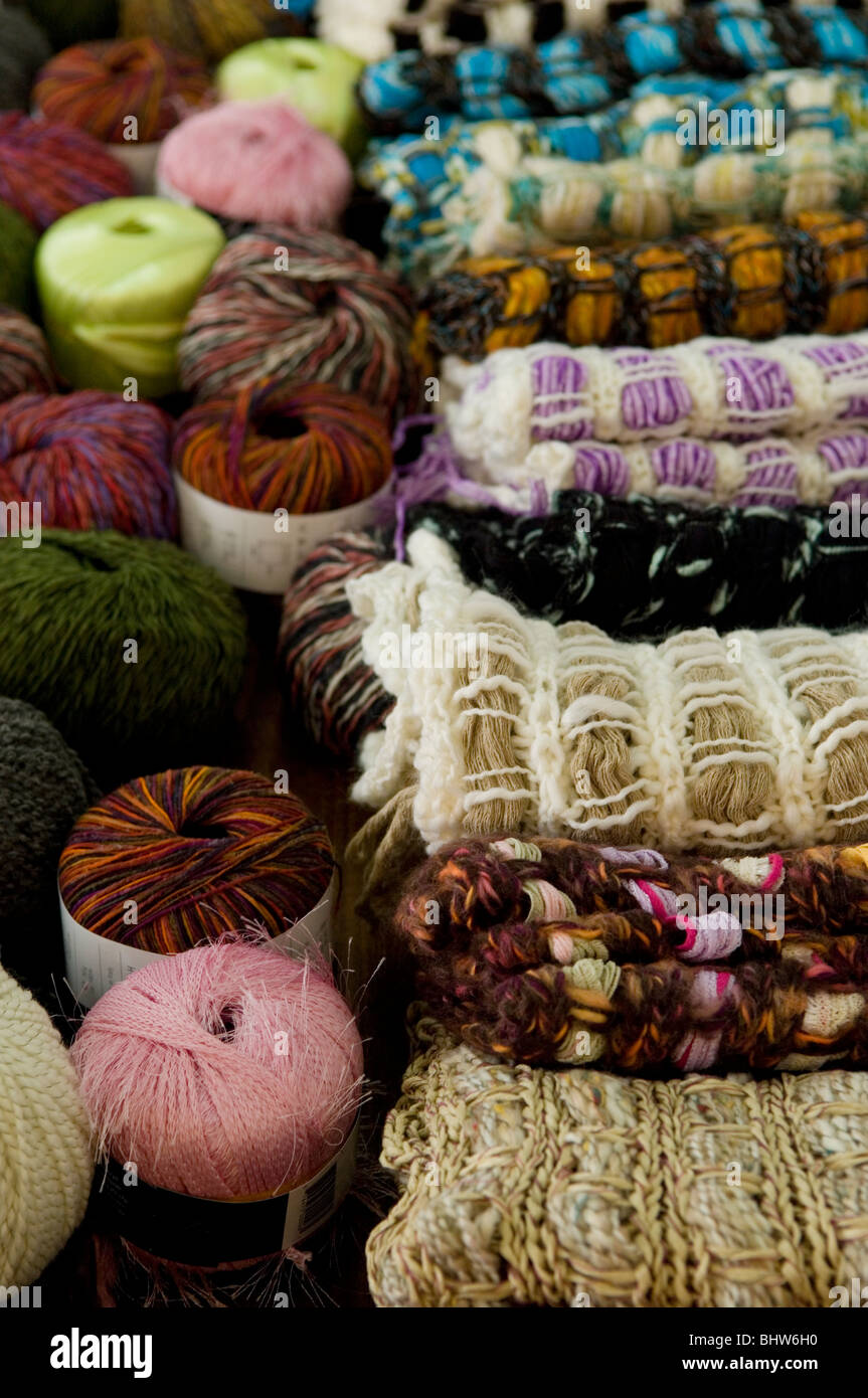 Knitting wool on sale in market Beirut Lebanon Middle East - Stock Image