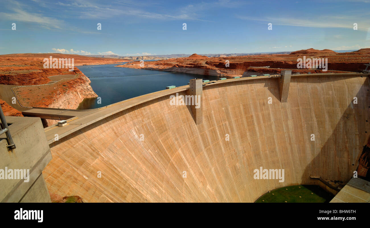 The Glen Canyon Dam,  near the city of Page, in Arizona, United States of America. View of the exterior building - Stock Image