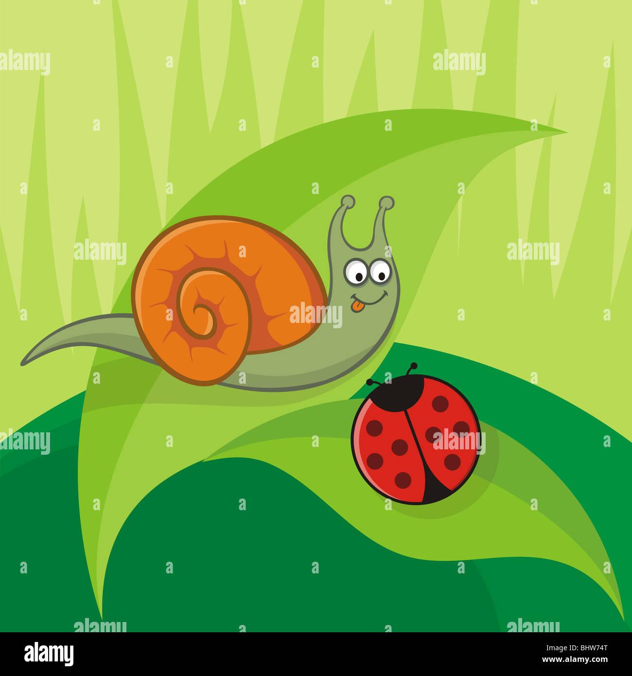 Cartoon snail with ladybug sitting on leaves - Stock Image