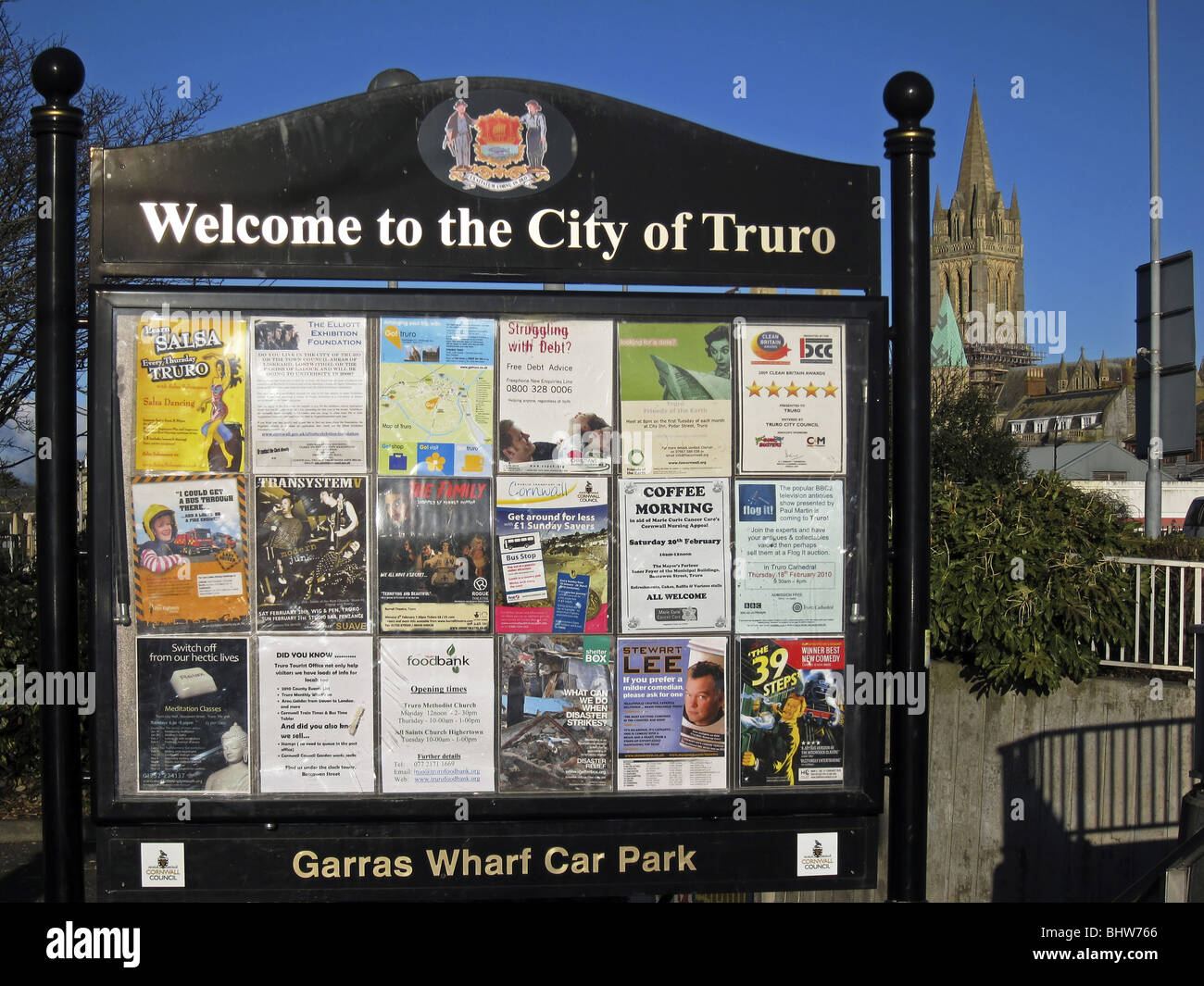 welcome sign to truro,cornwall,uk - Stock Image