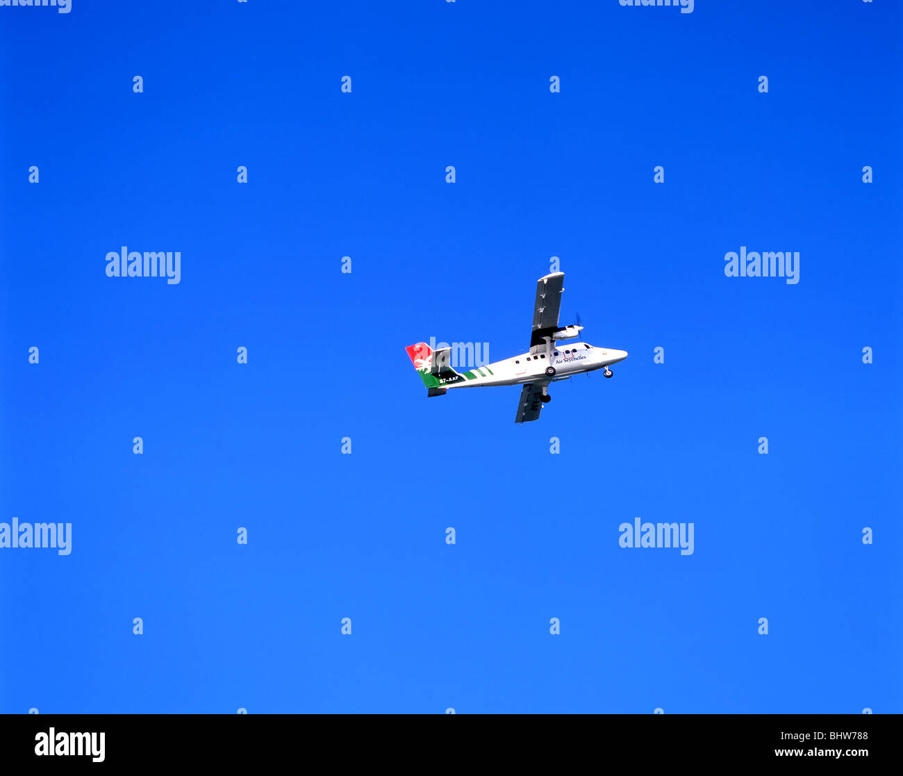 Inter-Island aircraft taking off, Praslin Island, Republic of Seychelles - Stock Image