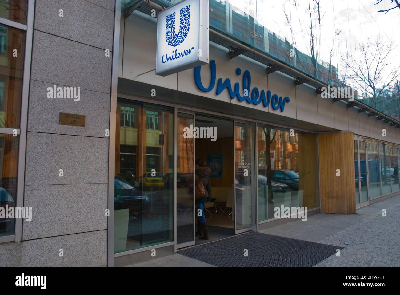 Unilever company branch exterior with sliding doors Karlin Prague Czech Republic Europe - Stock Image