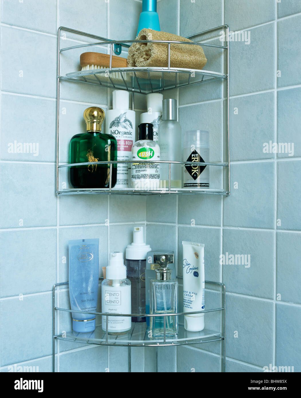 Close-up of toiletries on stainless steel shelving in corner of ...