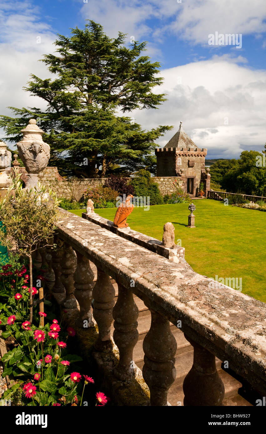 The garden and lawn at Torosay Castle near Craignure on the Isle of ...