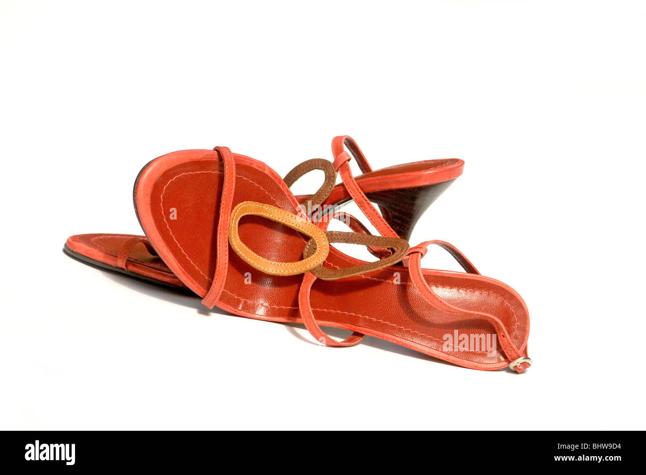 High heels sandals close-up - Stock Image