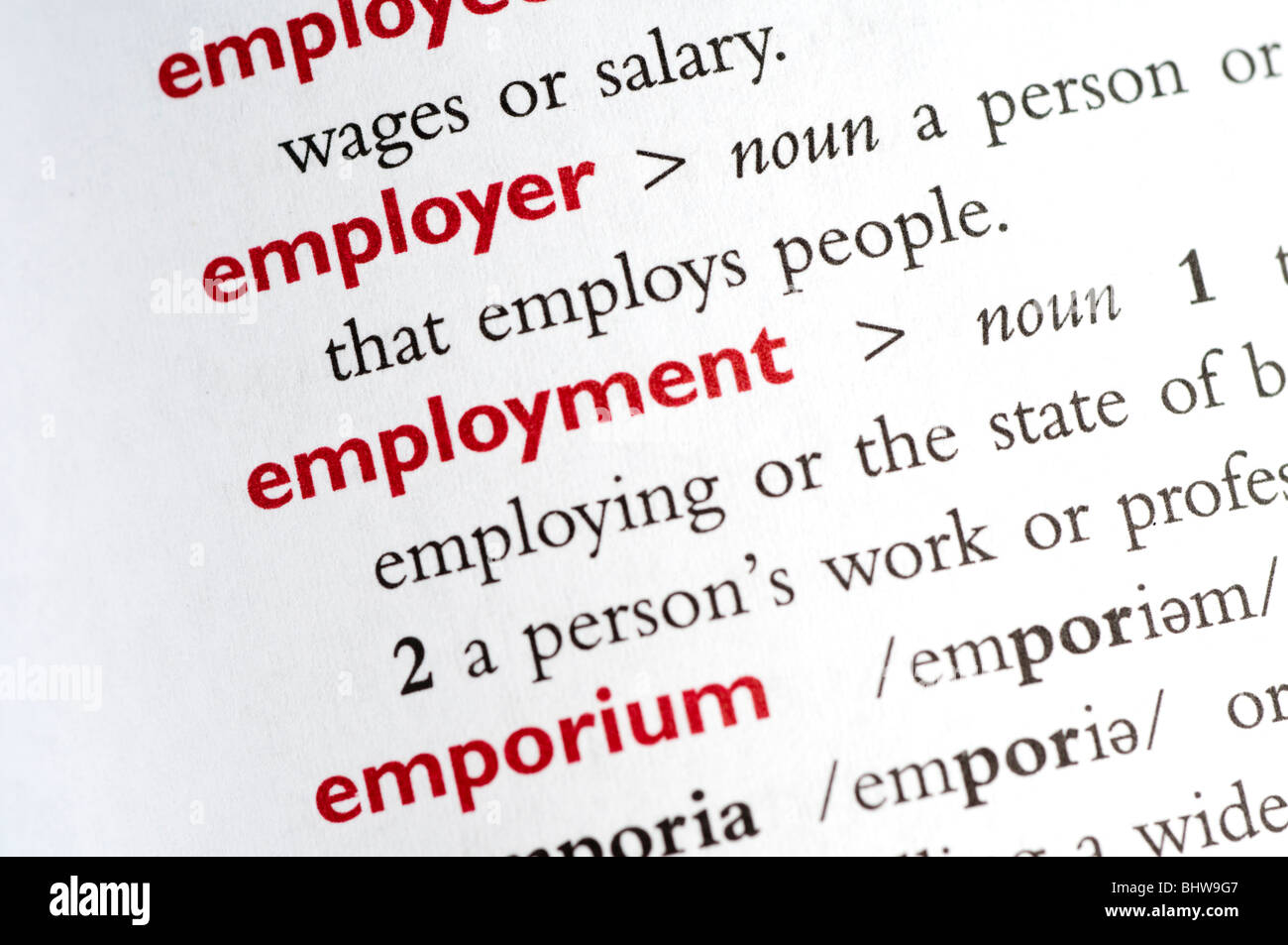 Dictionary definition of employment - Stock Image