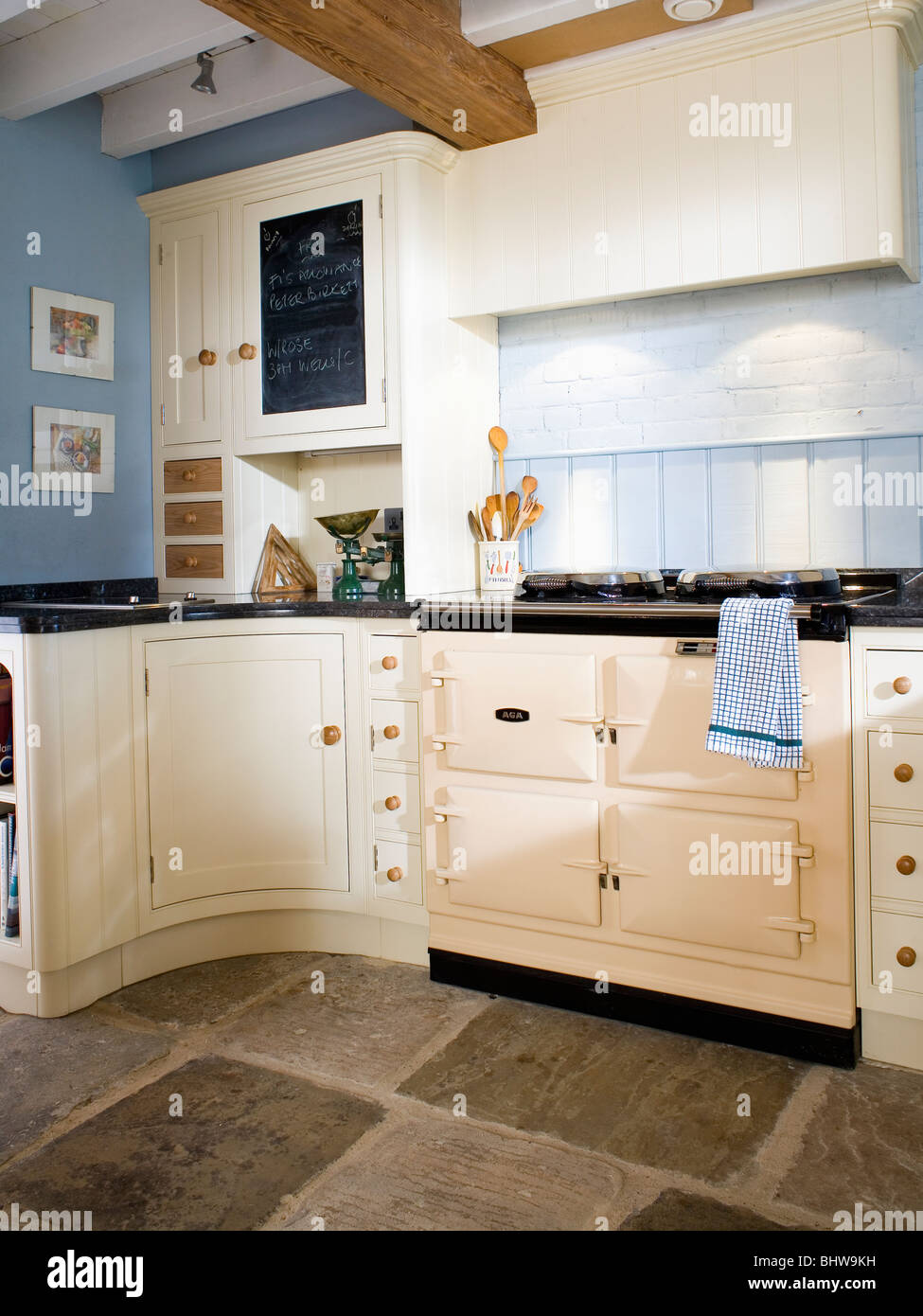Blue Country Kitchens. Cream Aga Oven In Pastel Blue Country Kitchen With  Flagstone Floor And