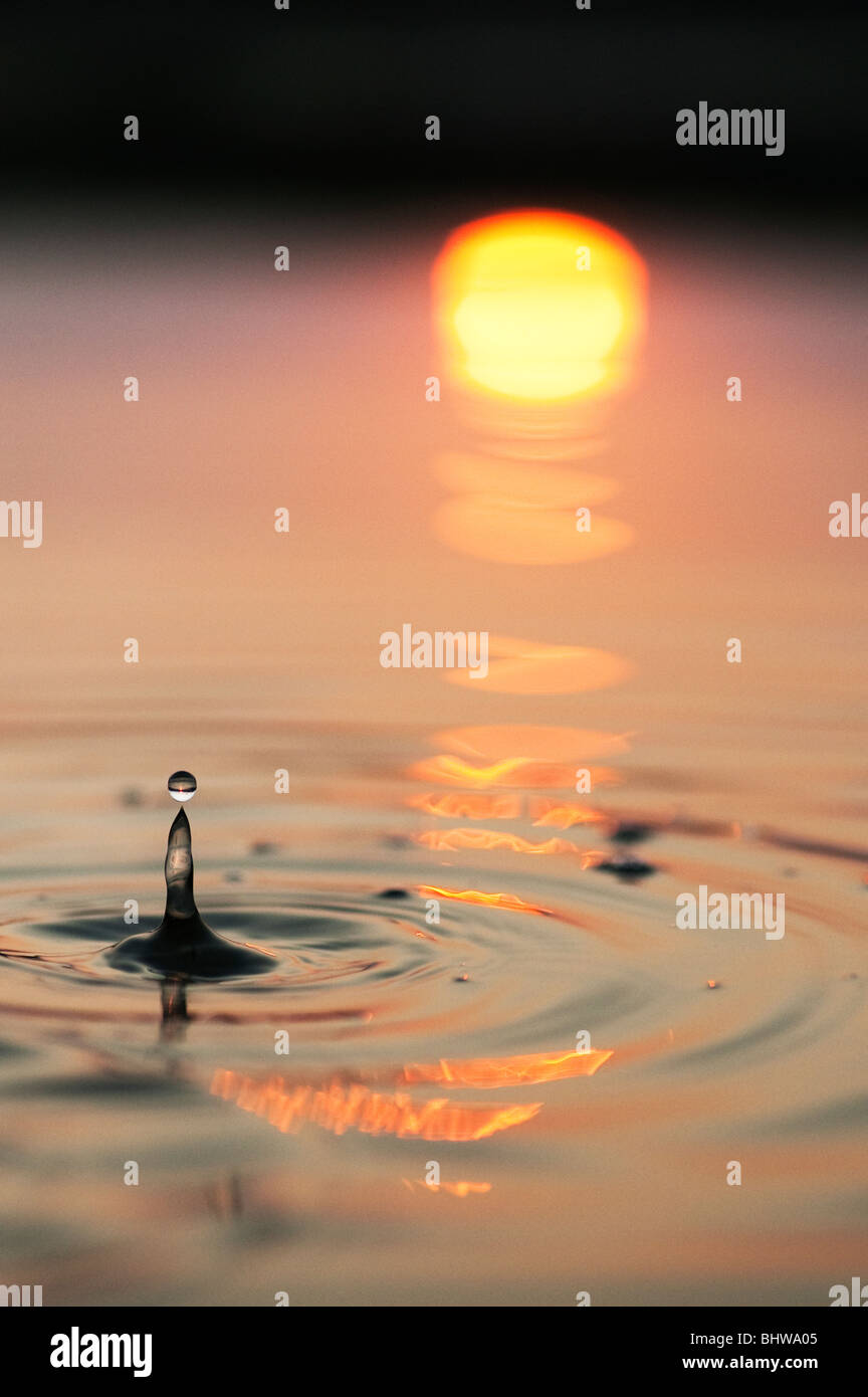 Water drops and ripples in a pool with reflected sunrise background - Stock Image