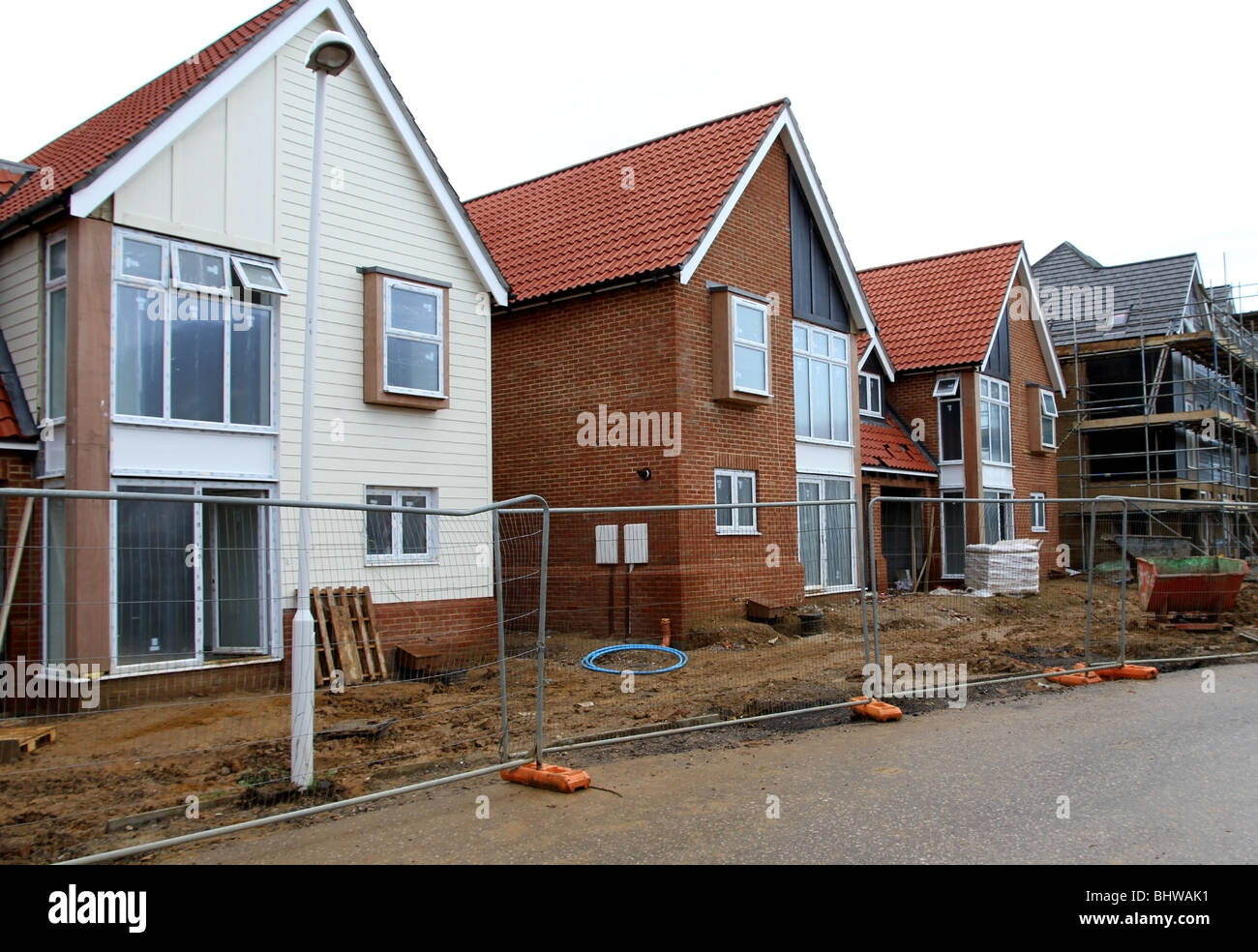 A row of new houses still under construction in the south east of England, UK. - Stock Image
