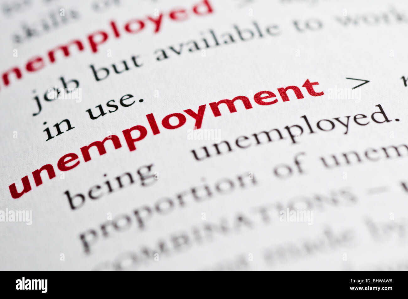 Dictionary definition of unemployment - Stock Image