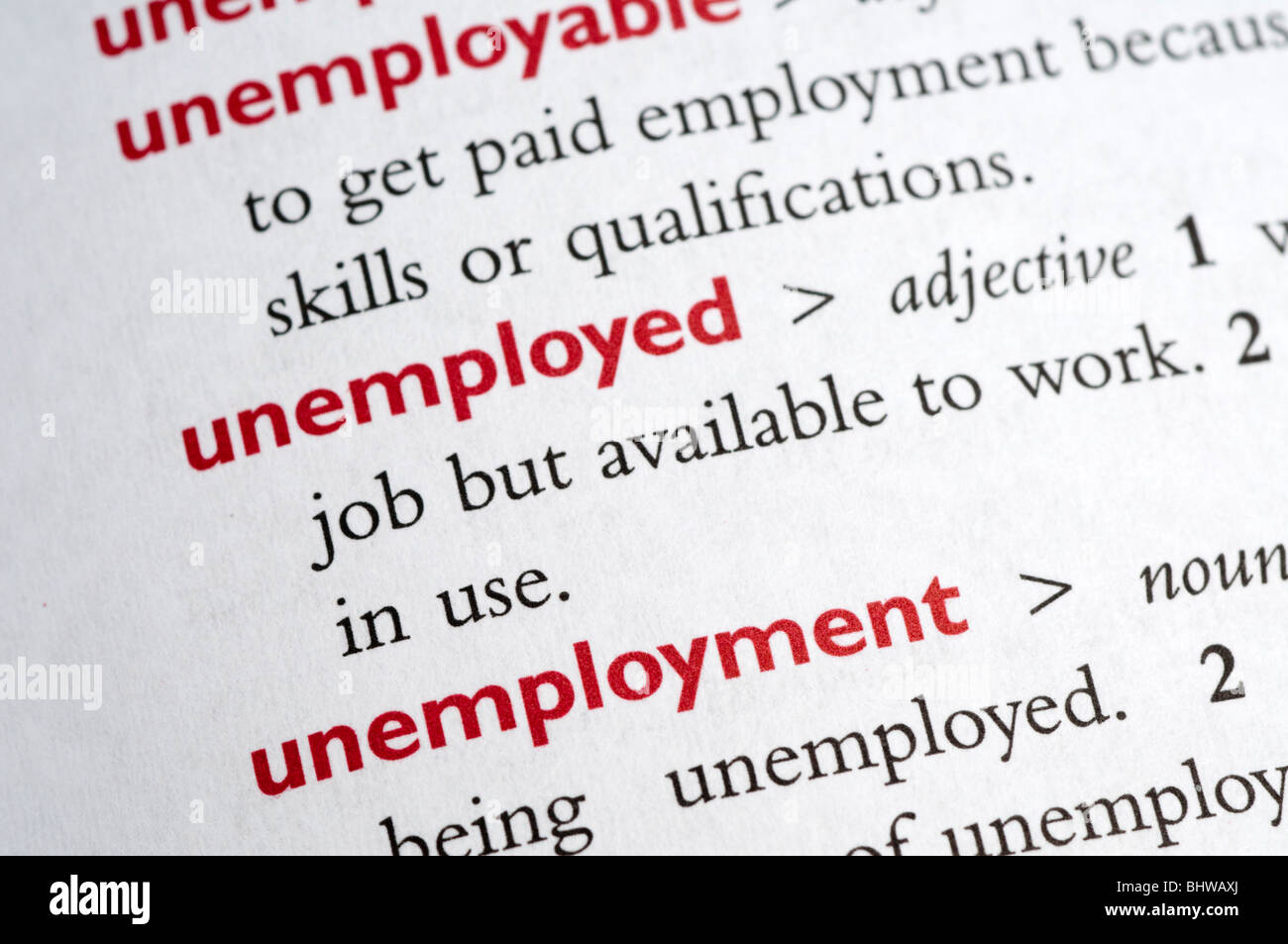 Dictionary definition of unemployed - Stock Image