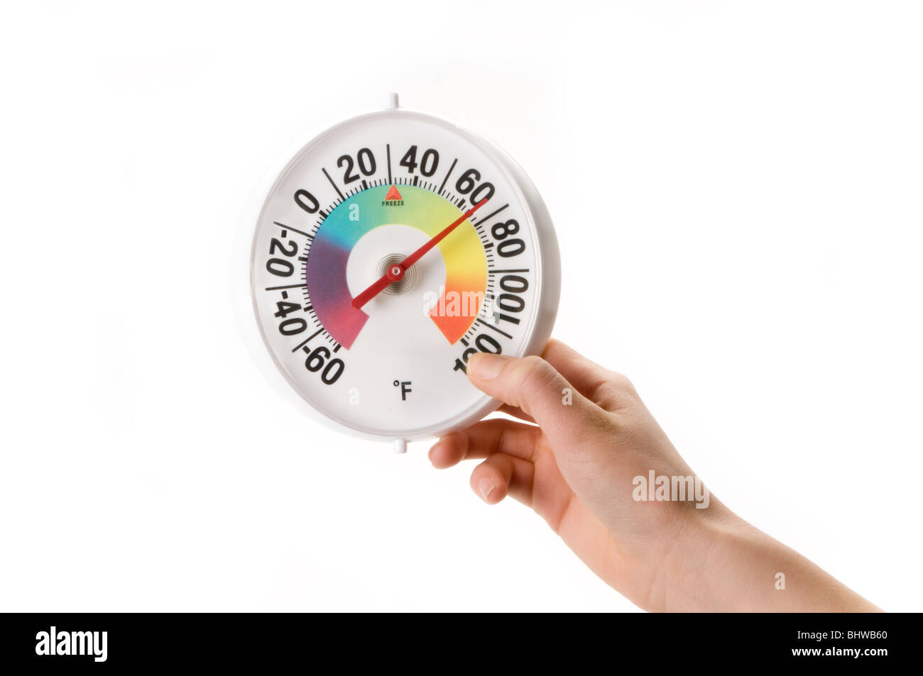 hand and round thermometer - Stock Image
