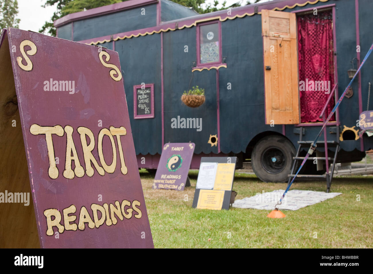 Tarot Readings Sign with Gypsy House Truck in Background, Masterton, New Zealand Stock Photo