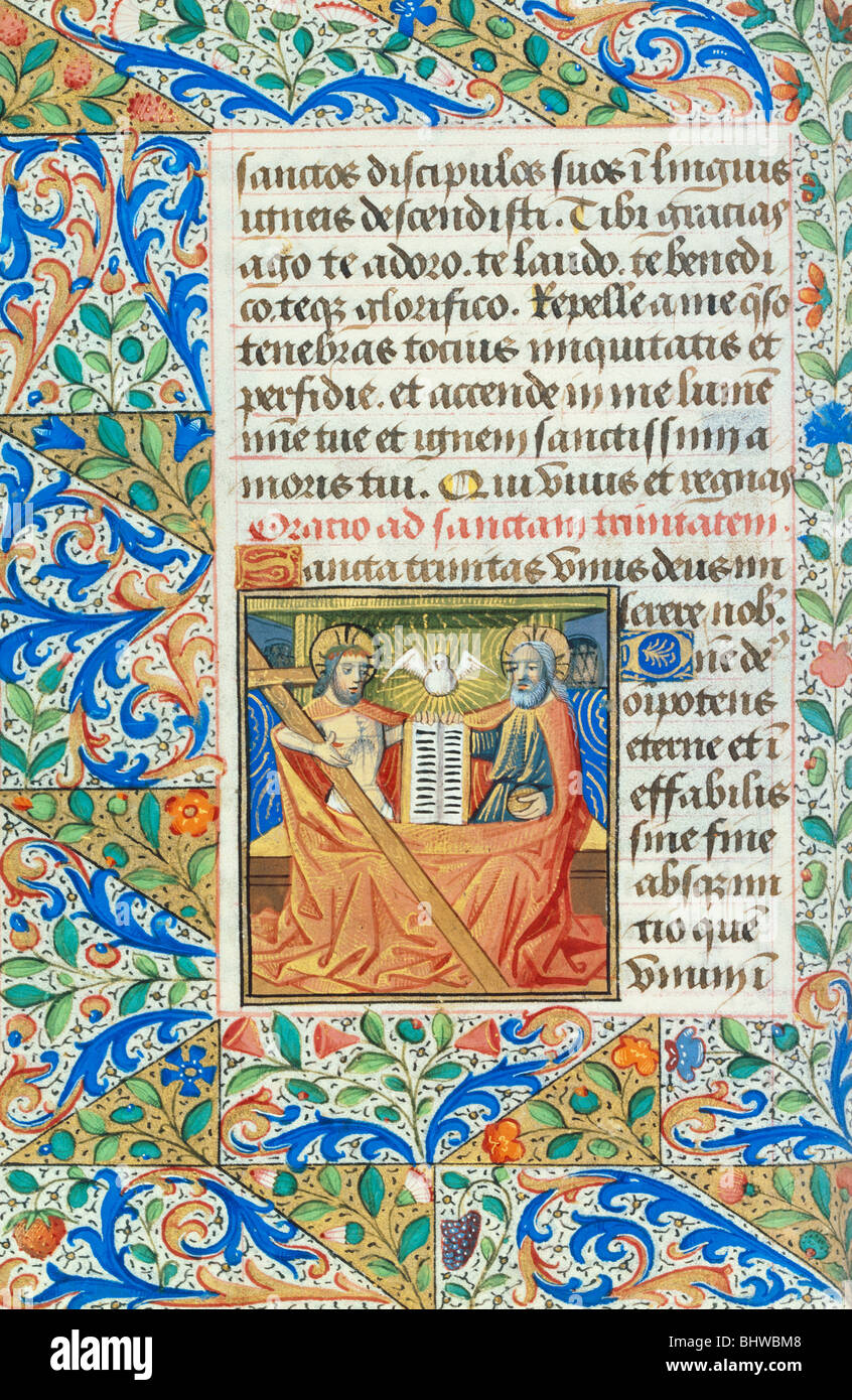 Prayer to The Holy Trinity, from the Playfair Book of Hours. Rouen, France, late 15th century - Stock Image