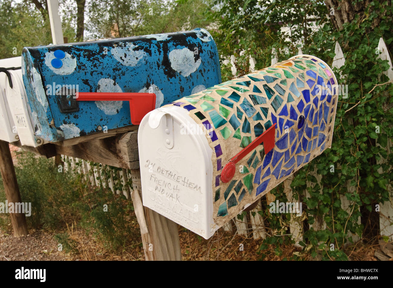 Colorful mailboxes in Madrid, New Mexico. Stock Photo