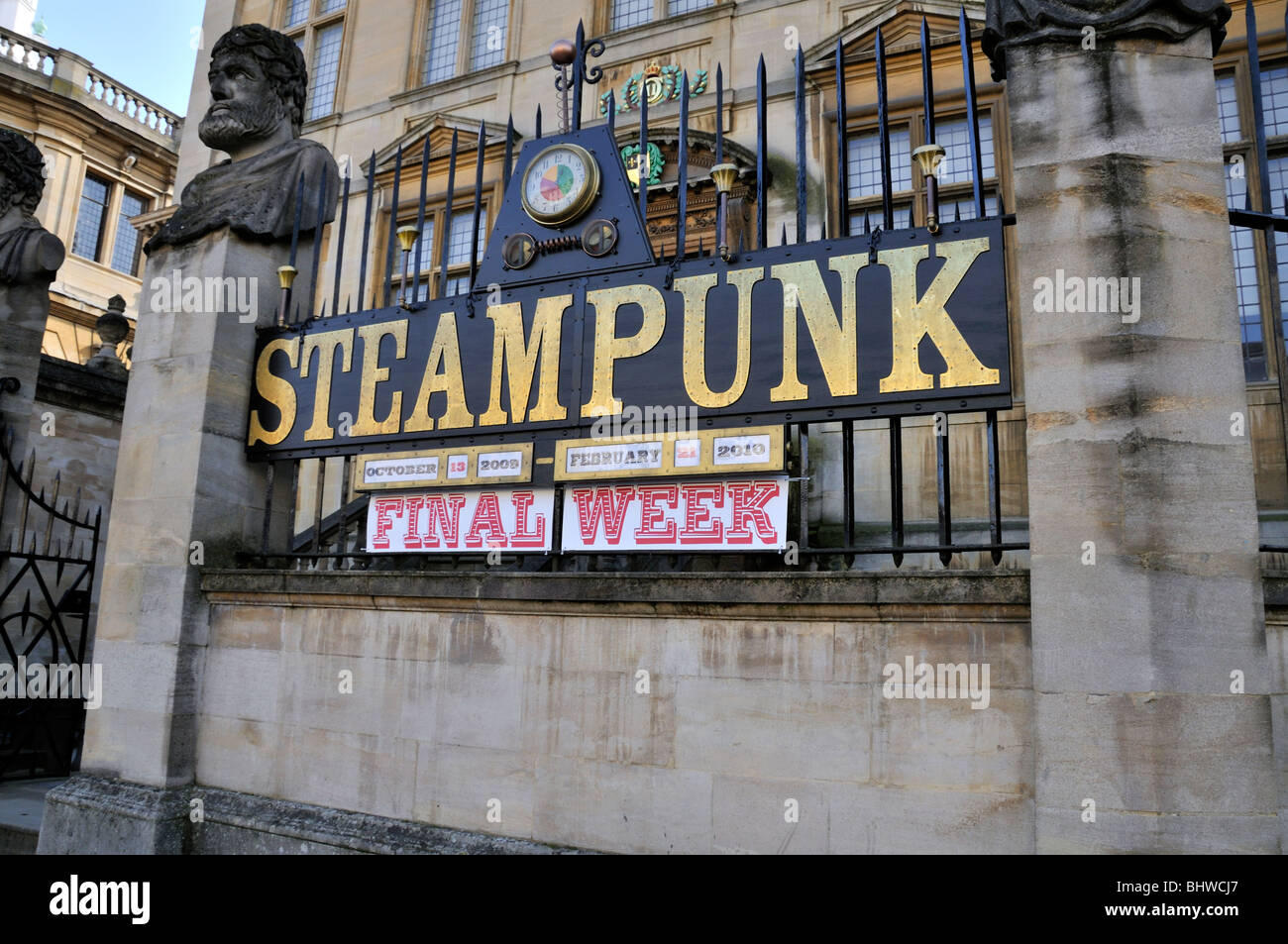 Steampunk Exhibition Signage outside the Museum of the History of Science, Oxford. - Stock Image