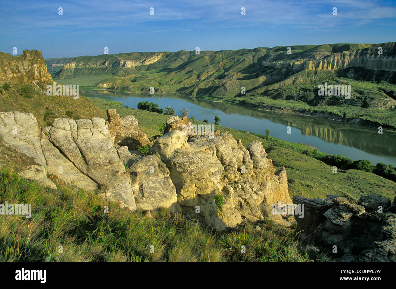 View From bluffs at Mile 65 on Upper Missouri Wild and Scenic River, Upper Missouri River Breaks National Monument, - Stock Image