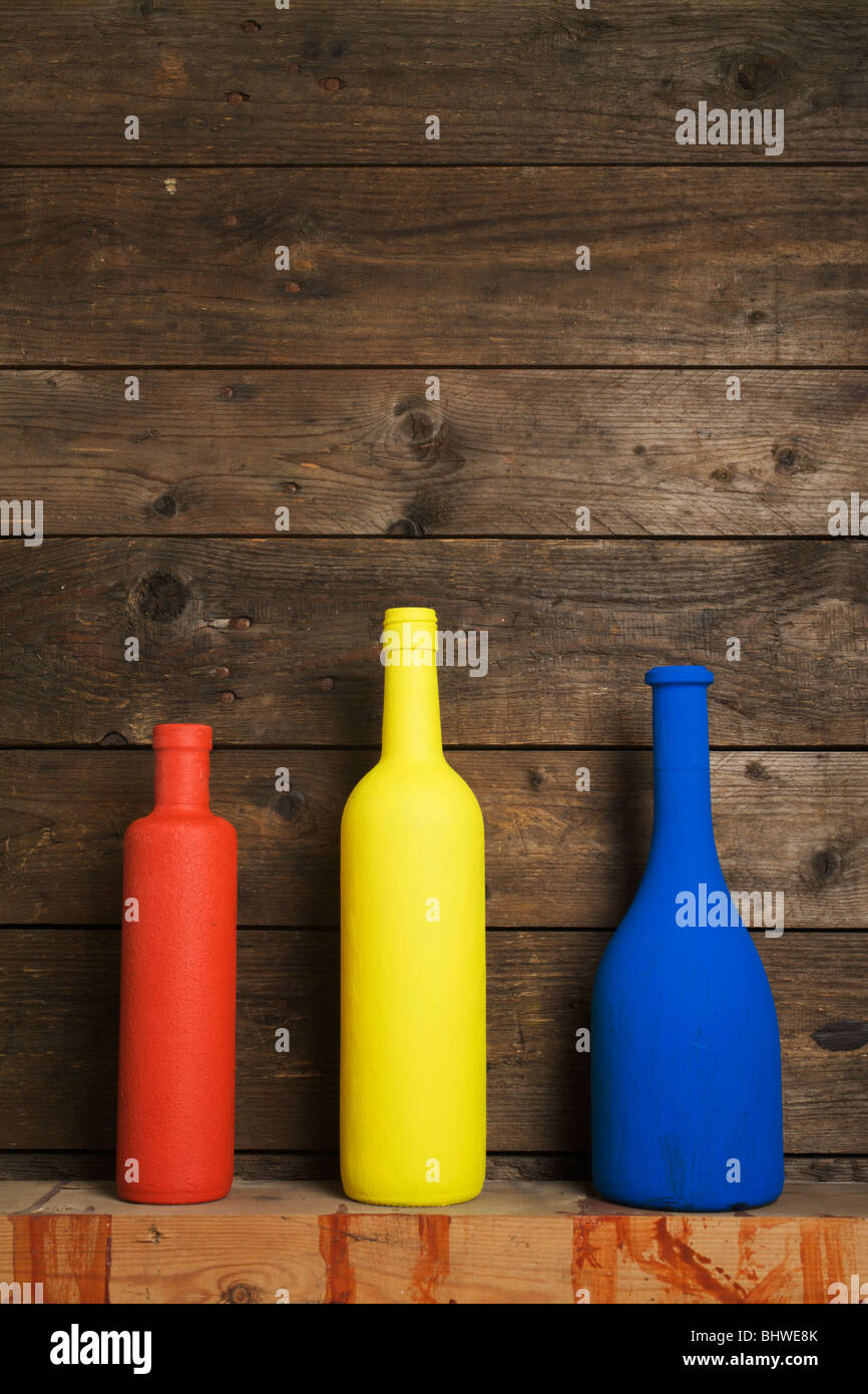 3 primary colours, 3 bottles. - Stock Image