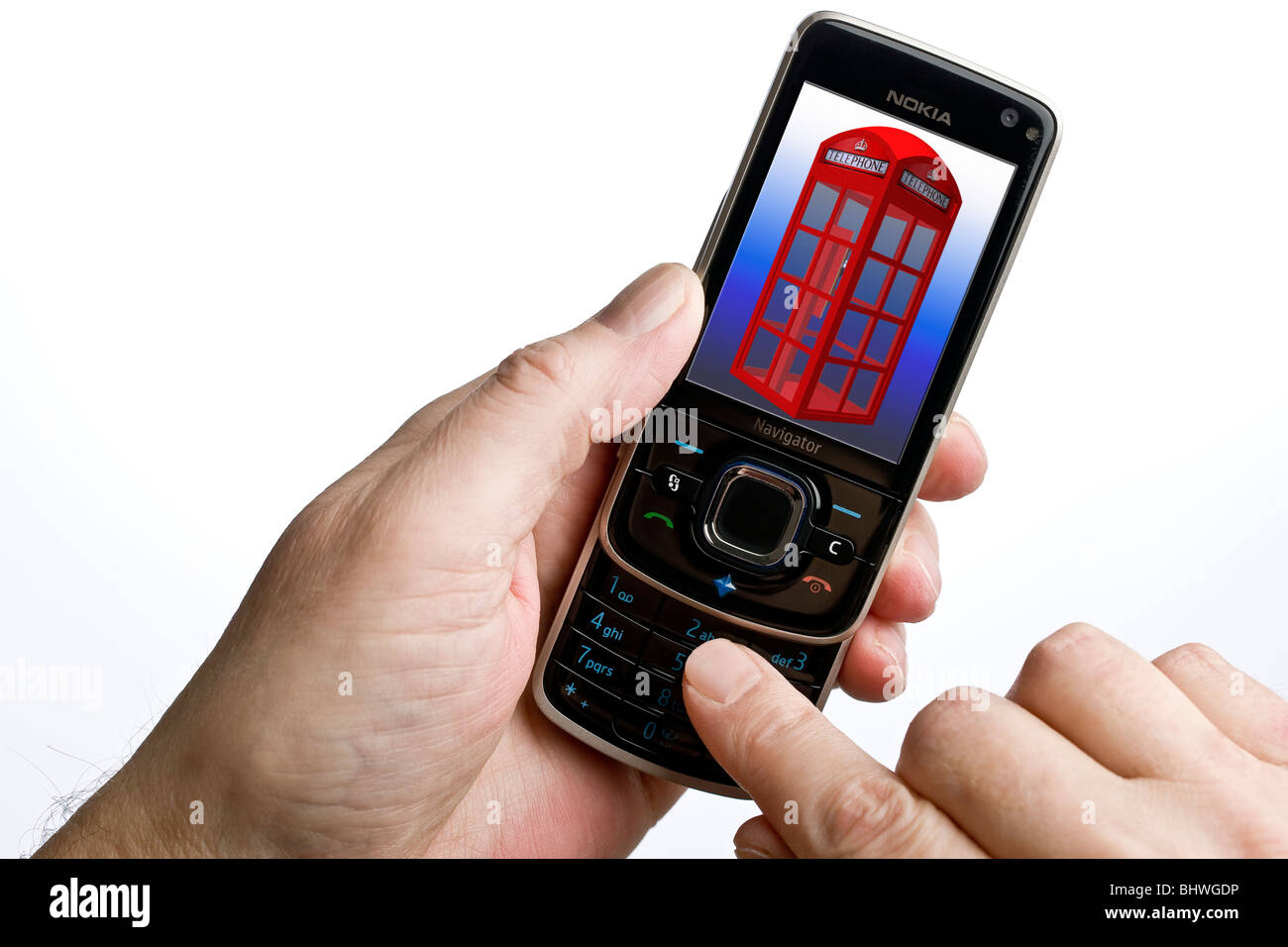 Close up of a mobile phone with an old enlish style public telephone box on the screen - Stock Image