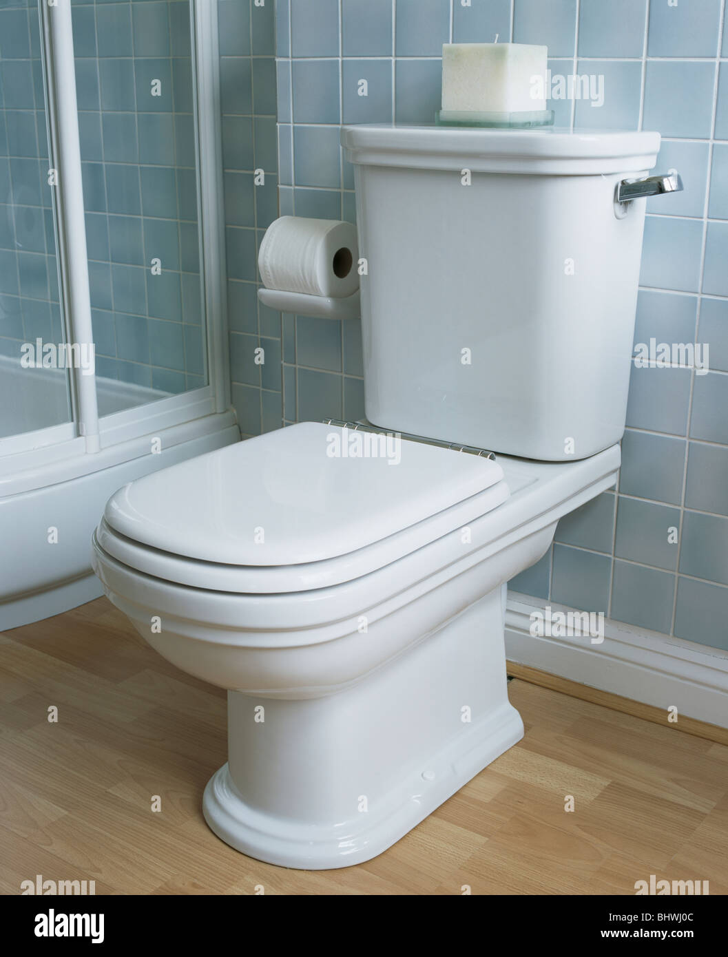 Close-up of white toilet in pale blue tiled bathroom Stock Photo ...