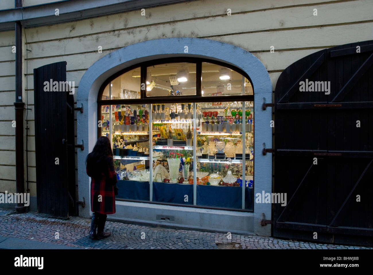 Glassware shop Josefska street Mala Strana central Prague Czech Republic Europe - Stock Image