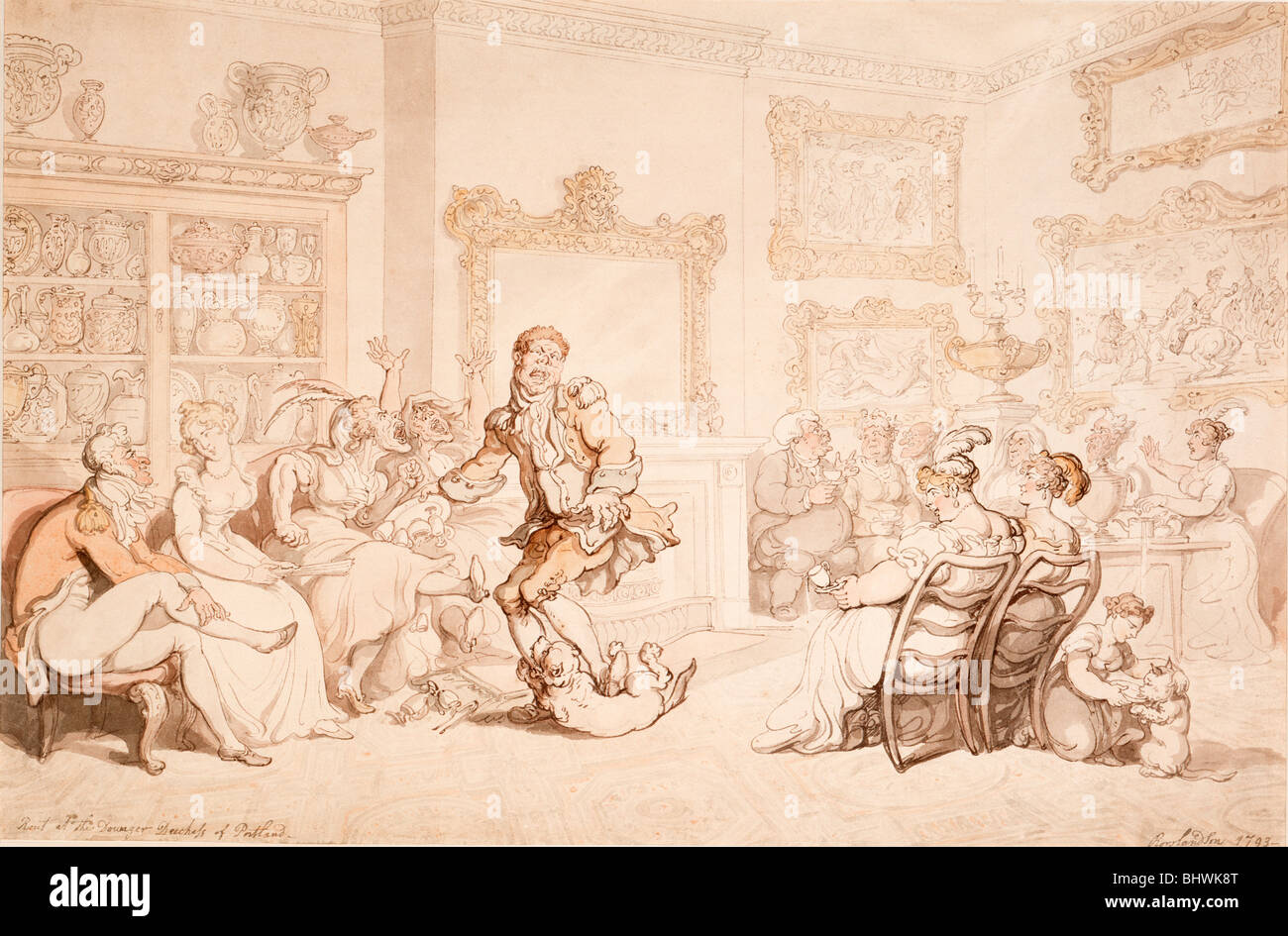 A reception at the dowager Duchess of Portland's, 1703. Artist: Thomas Rowlandson - Stock Image
