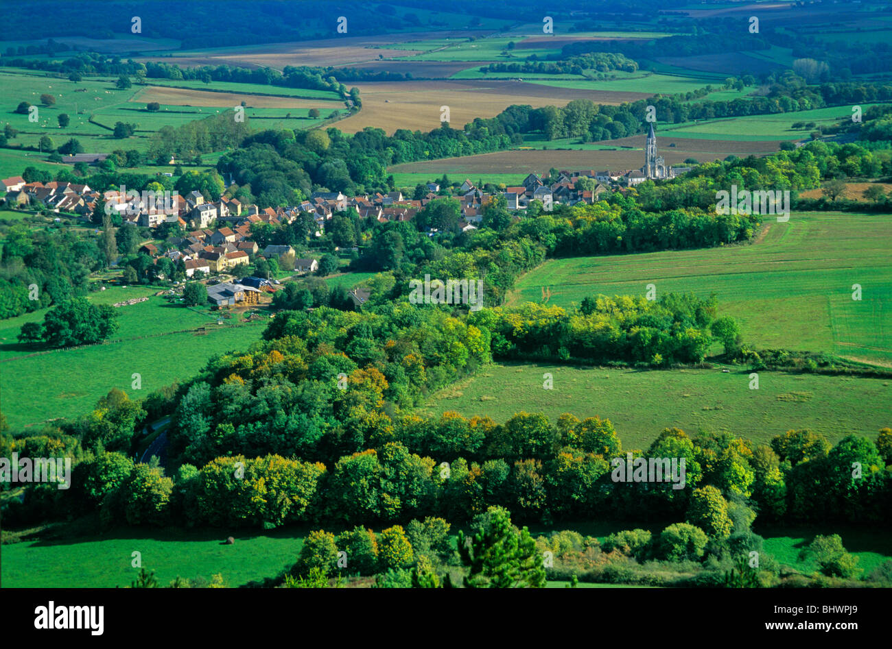Village of St. Pere in French countryside, Cure Valley, near Vezelay, Burgundy, France - Stock Image