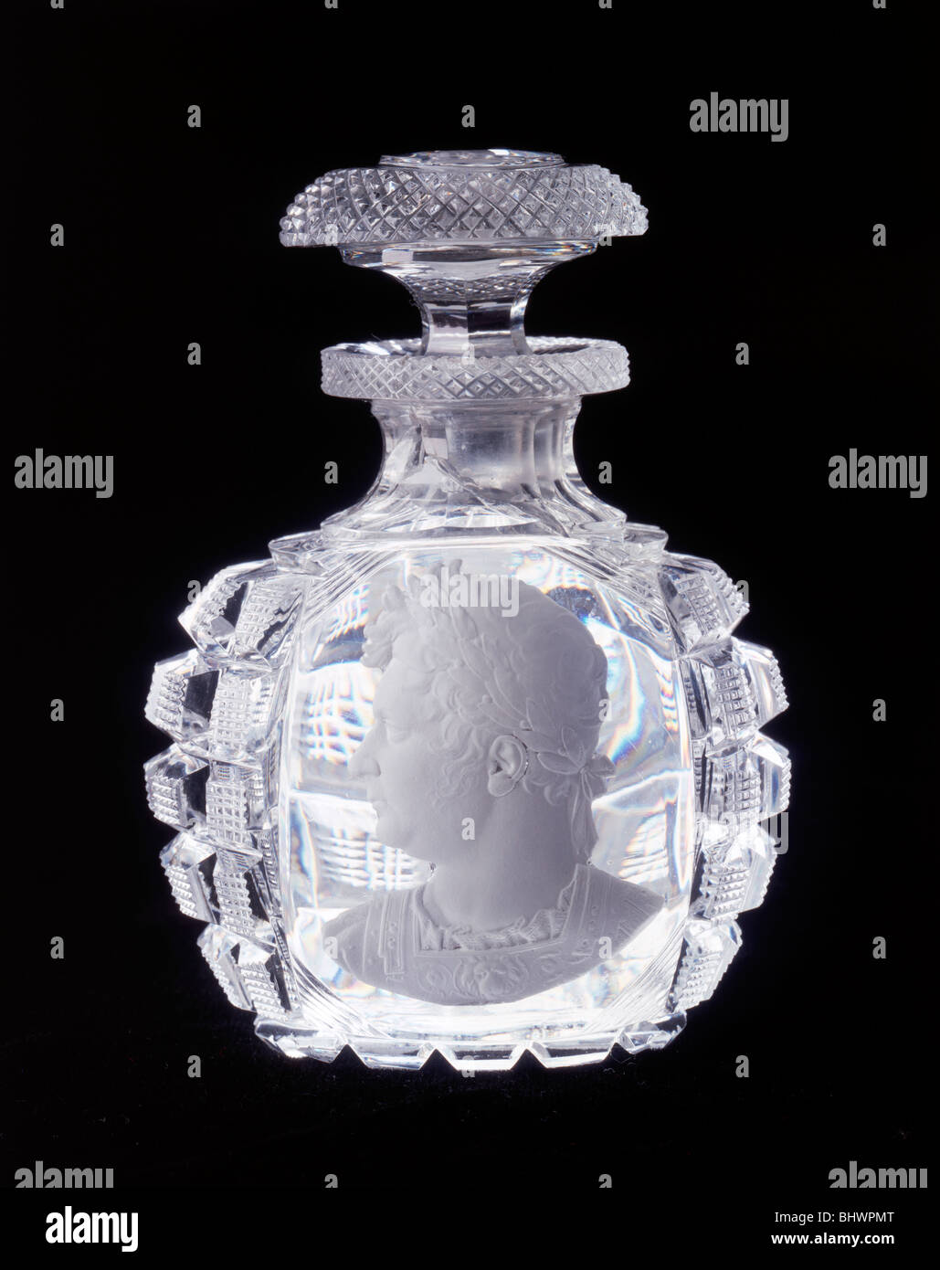 Diamond-cut scent bottle with sulphide representing the Prince Regent, c1800. - Stock Image