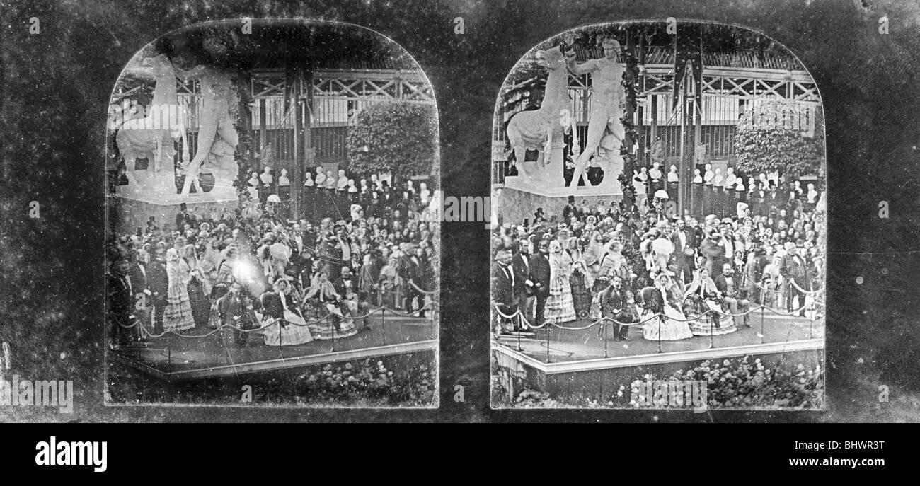 Napoleon III and Queen Victoria visit Crystal Palace, Sydenham, London, 1855. - Stock Image