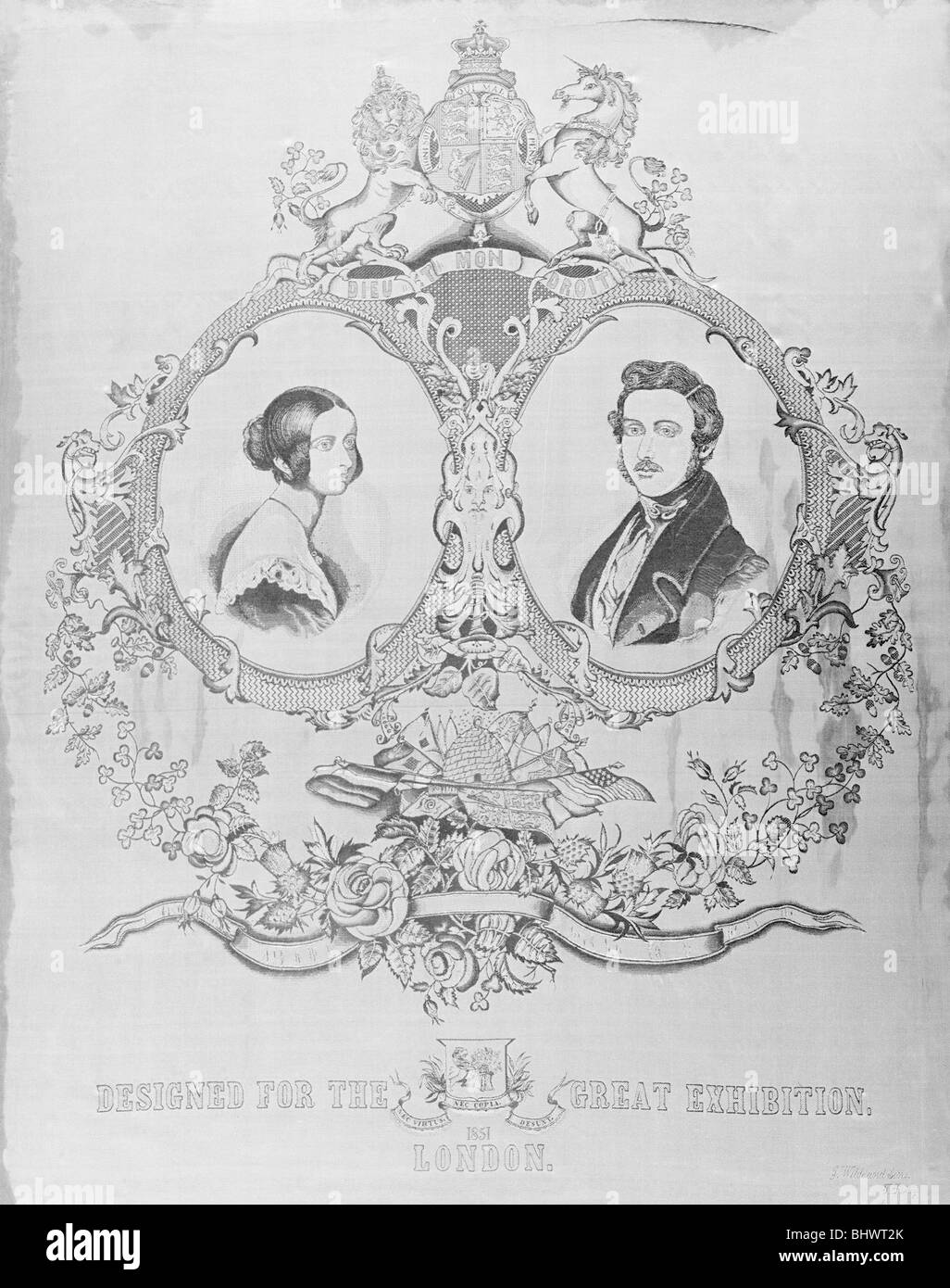 Portrait of Queen Victoria and Prince Albert designed for the Great Exhibition of 1851. - Stock Image