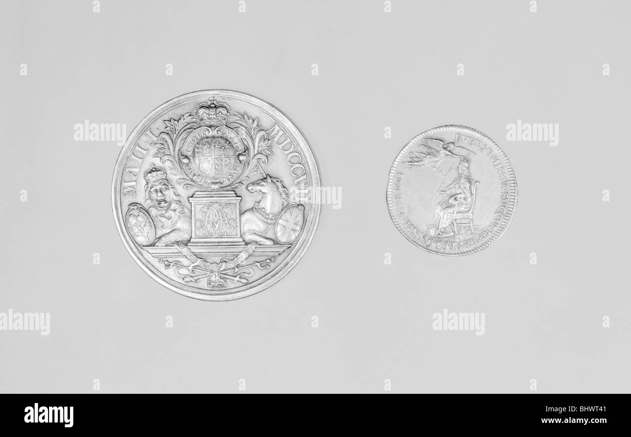 Medals of Queen Anne and King Charles II. - Stock Image