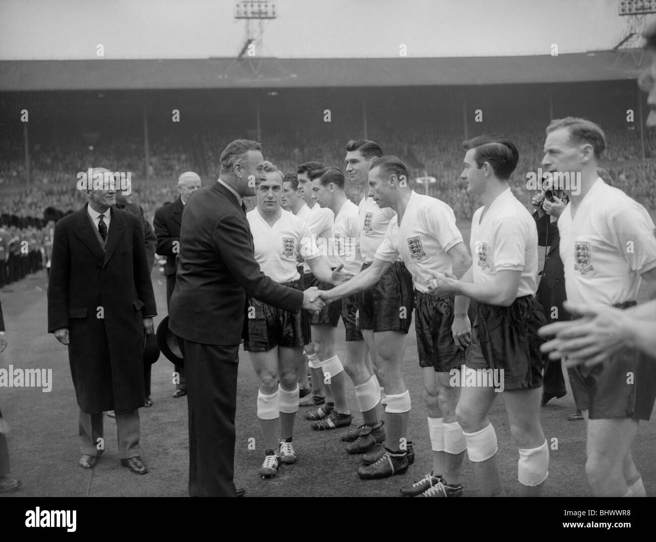 1958 World Cup Qualifying match at Wembley Stadium. England 5 v Republic of Ireland 1. Earl Mountbatten is introduced - Stock Image
