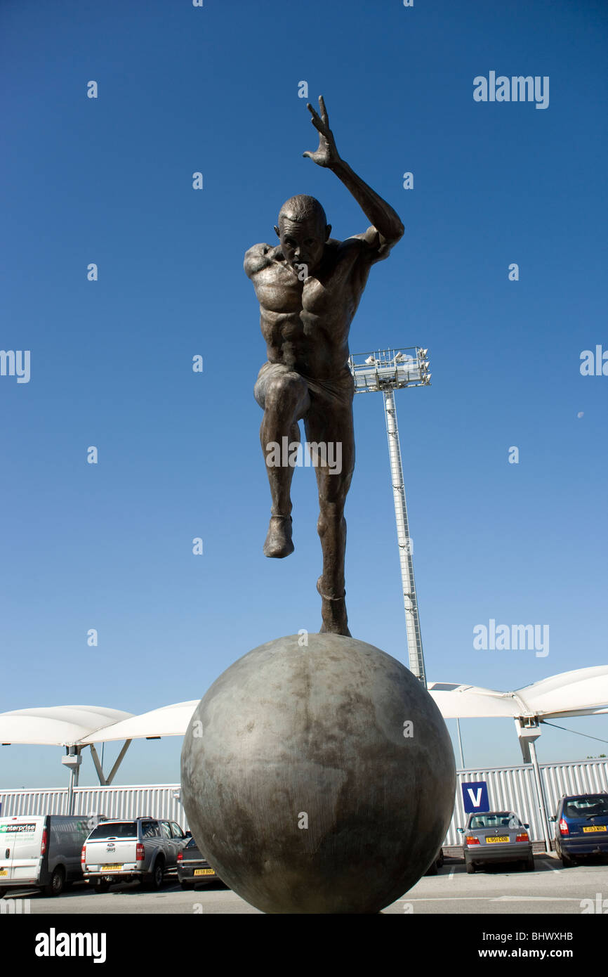 Commonwealth Games statue at Sportcity, Eastlands Manchester - Stock Image