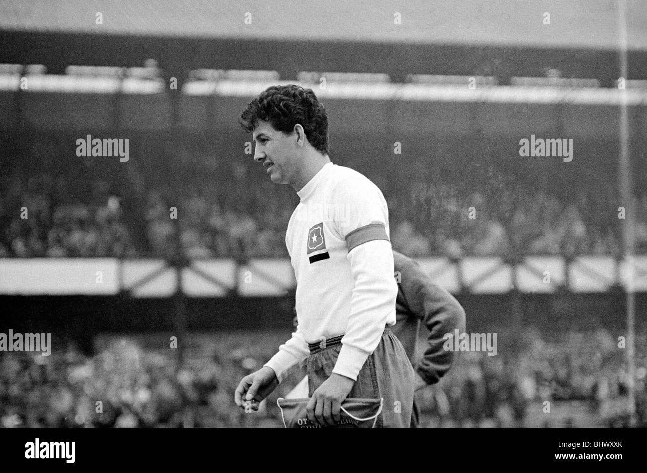 World Cup Russia versus Chile 20th July 1966 Chile captain Sanchez  before the start of the match - Stock Image