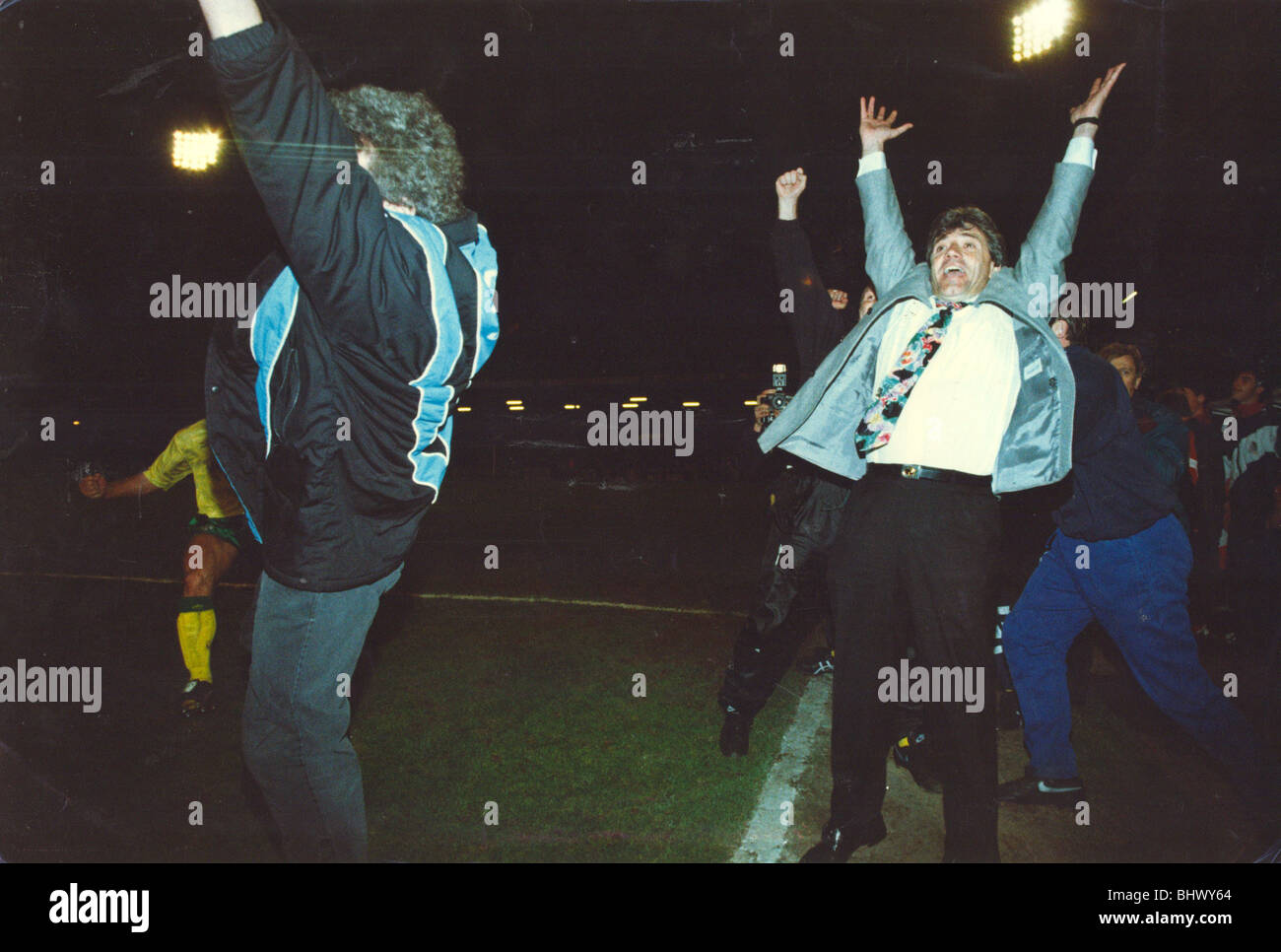 Newcastle United win the First Division at Grimsby - Kevin Keegan and Terry McDermott celebrate. Newcastle sealed - Stock Image