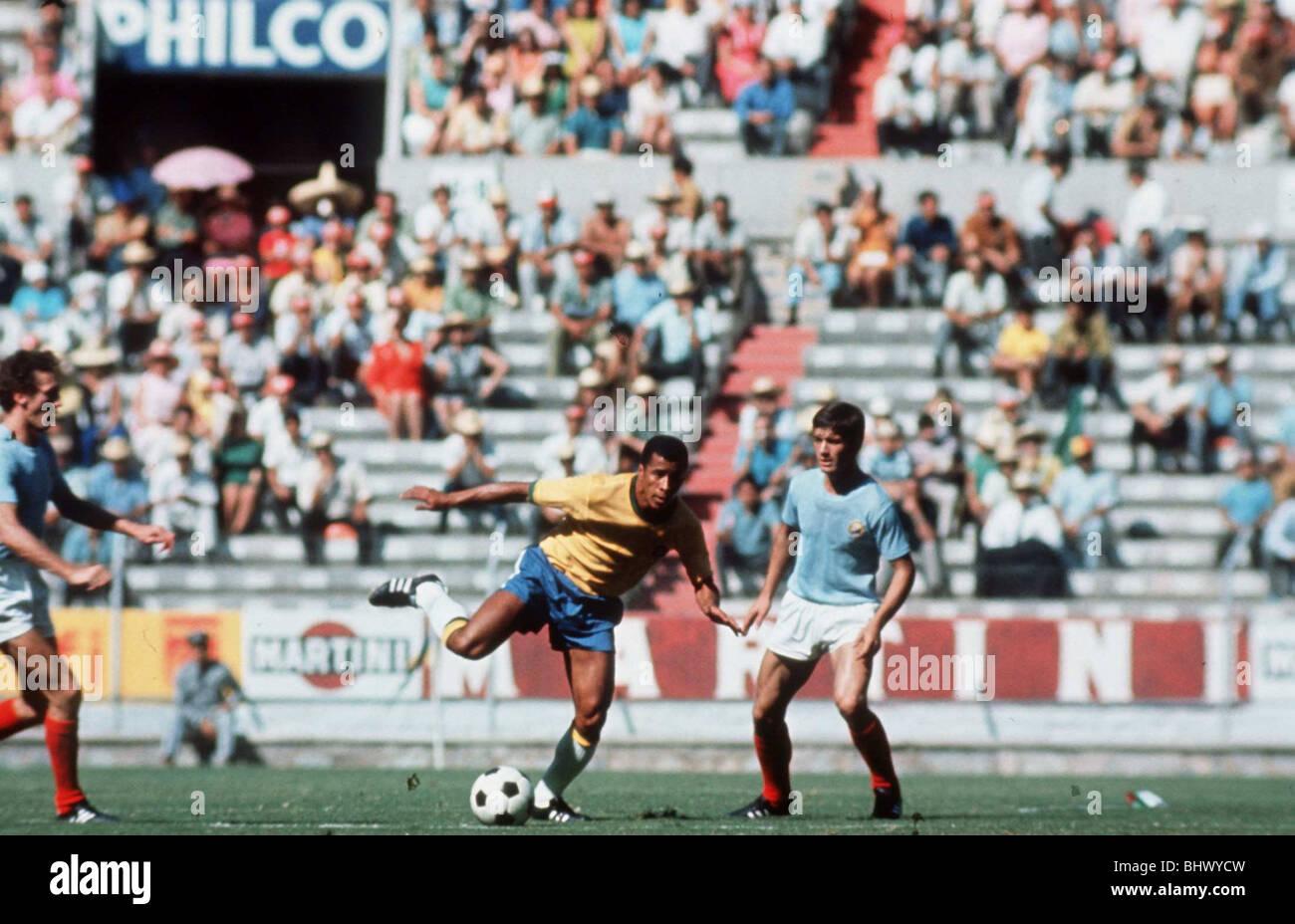 World Cup 1970 Group C Brazil 3 Romania 2 Jalisco, Guadalajara Jairzinho of Brazil in Possession of the ball Mexico - Stock Image
