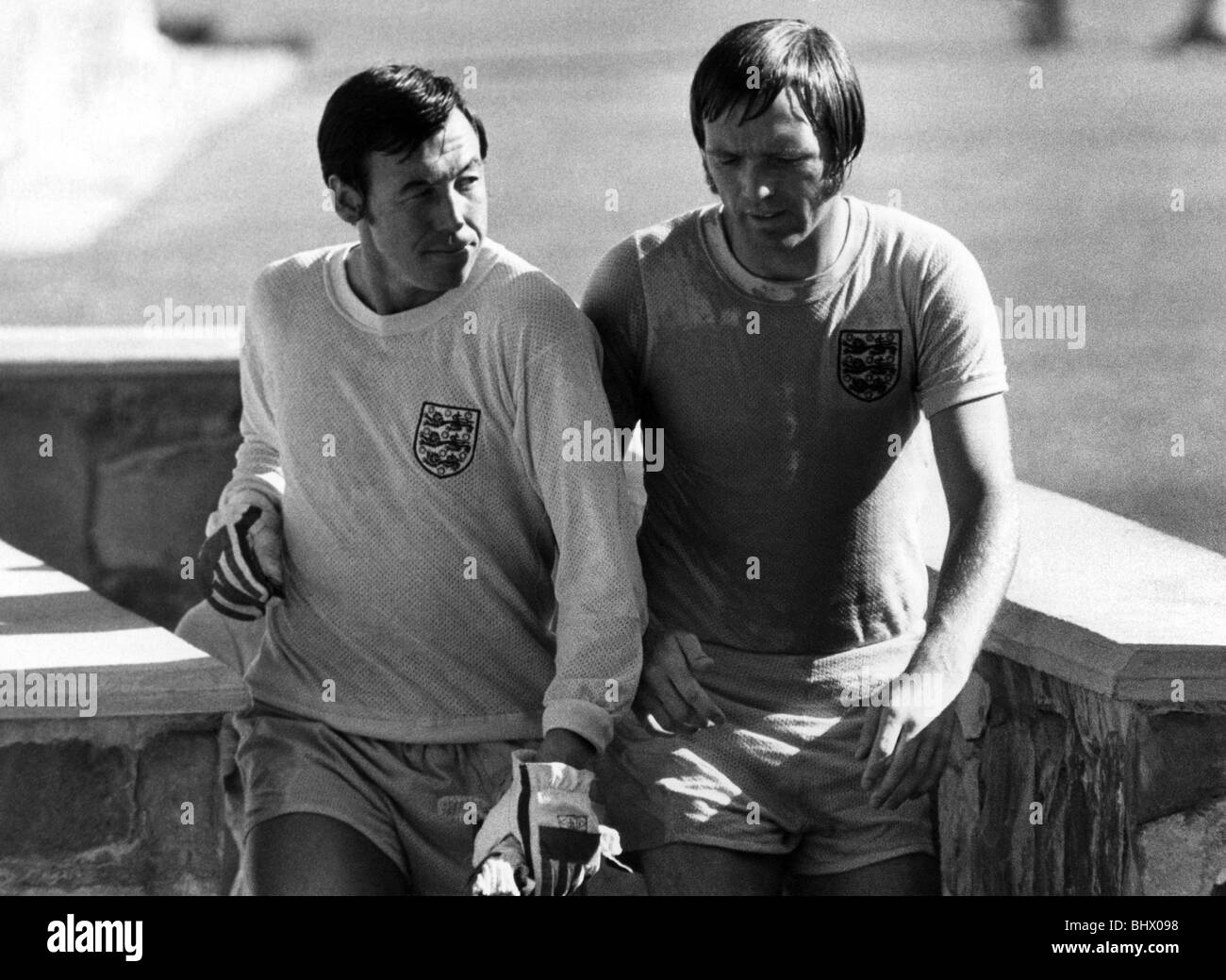 World Cup Group C match in Guadalajara, Mexico England 1 v Czechoslovakia 0. Gordon Banks (left) and Jeff Astle - Stock Image