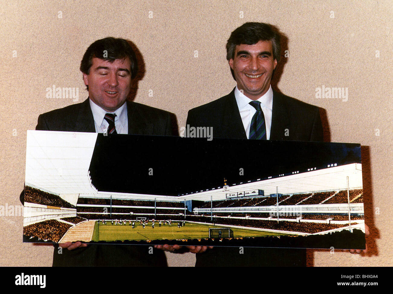 Irving Schollar Football former Chairman and with Terry Venables Former Manager of Tottenham Hotspur holding up - Stock Image