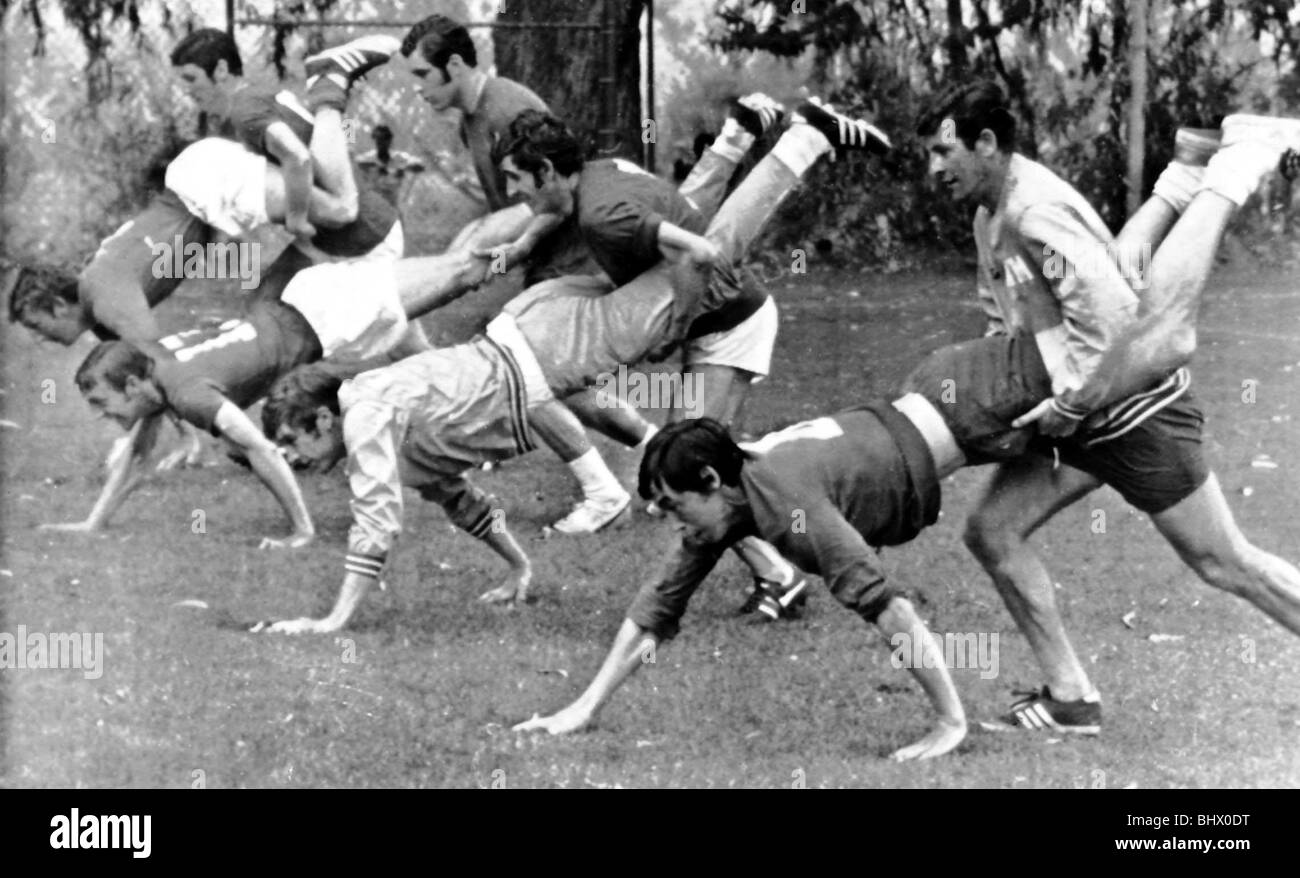 England Football Players training before World Cup May 1970 L-R (holding legs) Brian Labone Peter Bonetti Peter - Stock Image
