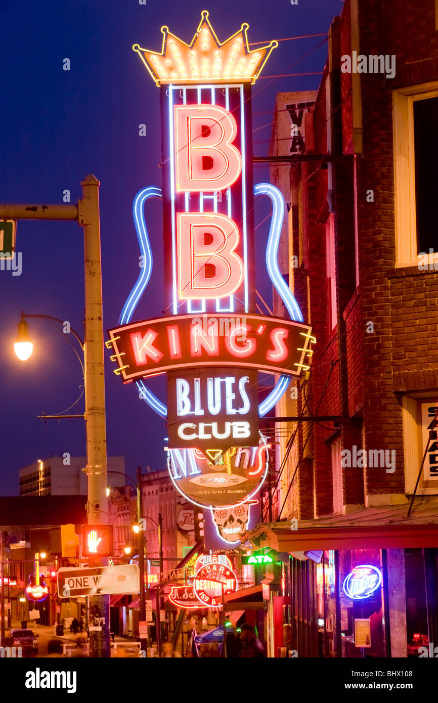 B. B. King's Blues Club, Beale Street, home of the blues, Memphis, Tennessee - Stock Image