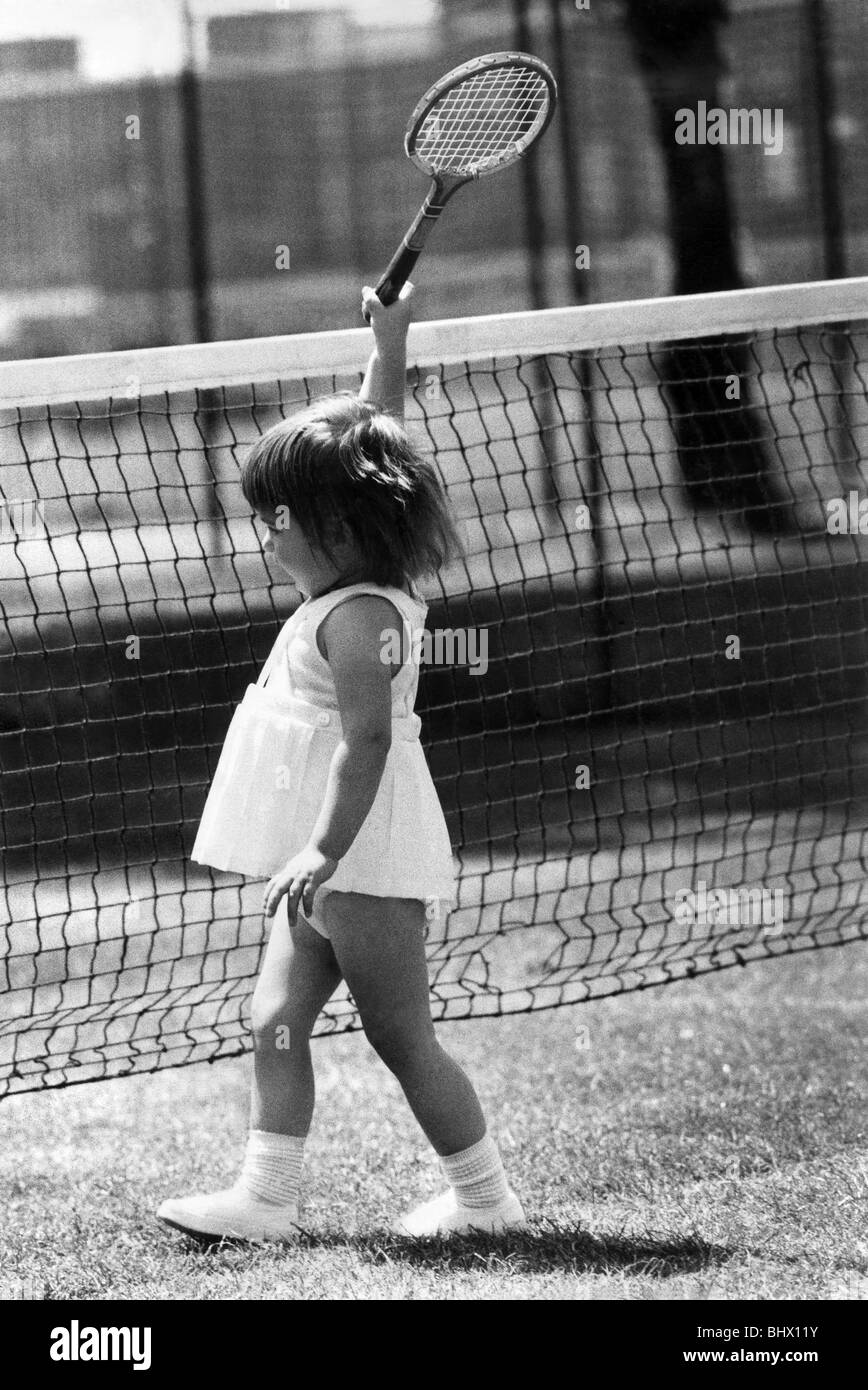 Julie Wimbledon the action girl of tennis makes her play. June 1973 P019383 - Stock Image