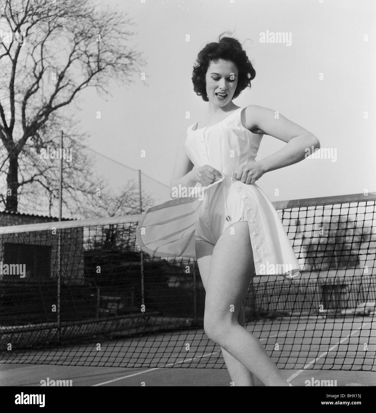 Norma Parnell (20) actress & model, wearing romper outfit designed by former tennis champion Fred Perry,  8th - Stock Image