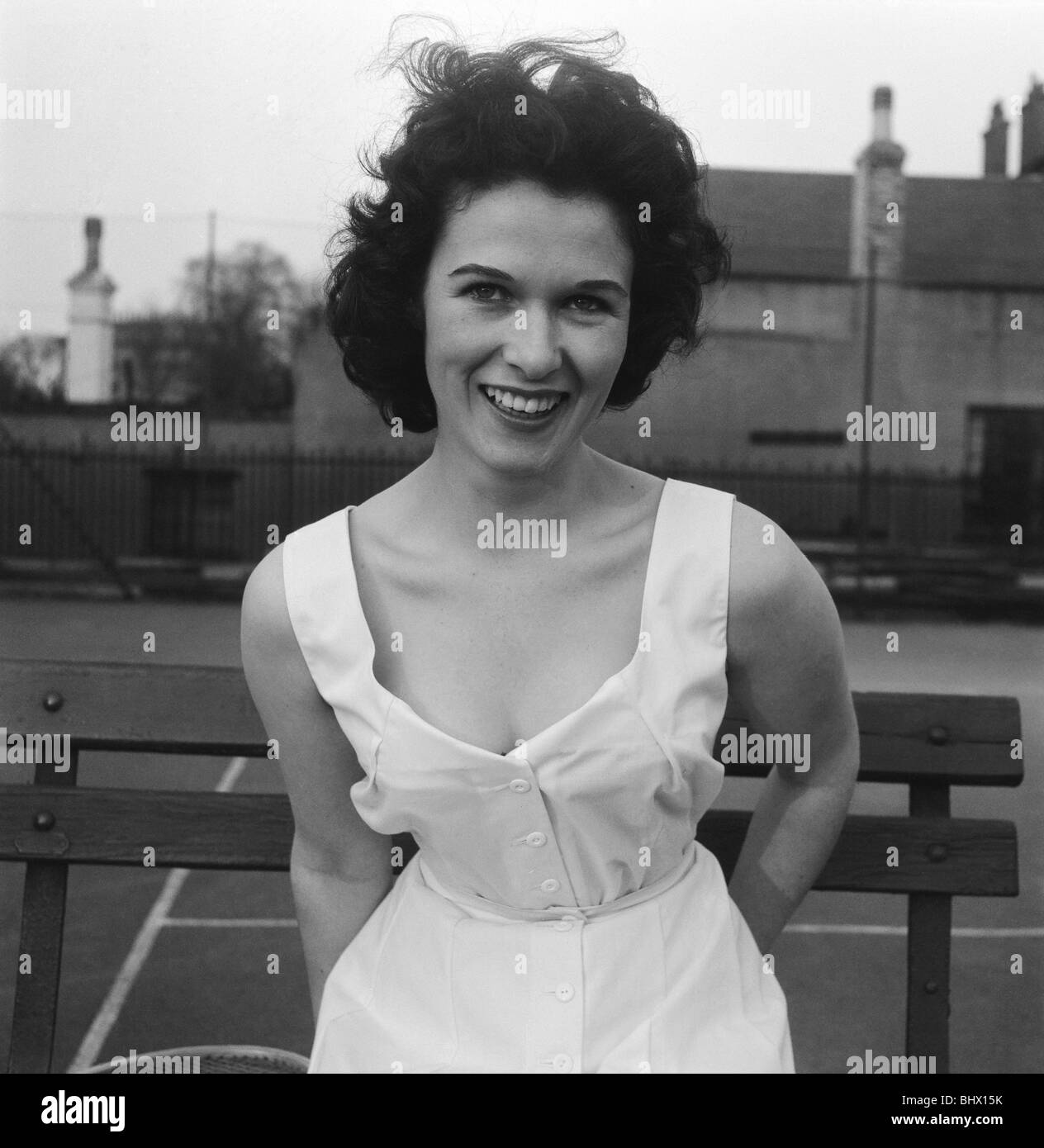 Norma Parnell (20) actress & model wearing romper outfit which was designed by former tennis champion Fred Perry, - Stock Image