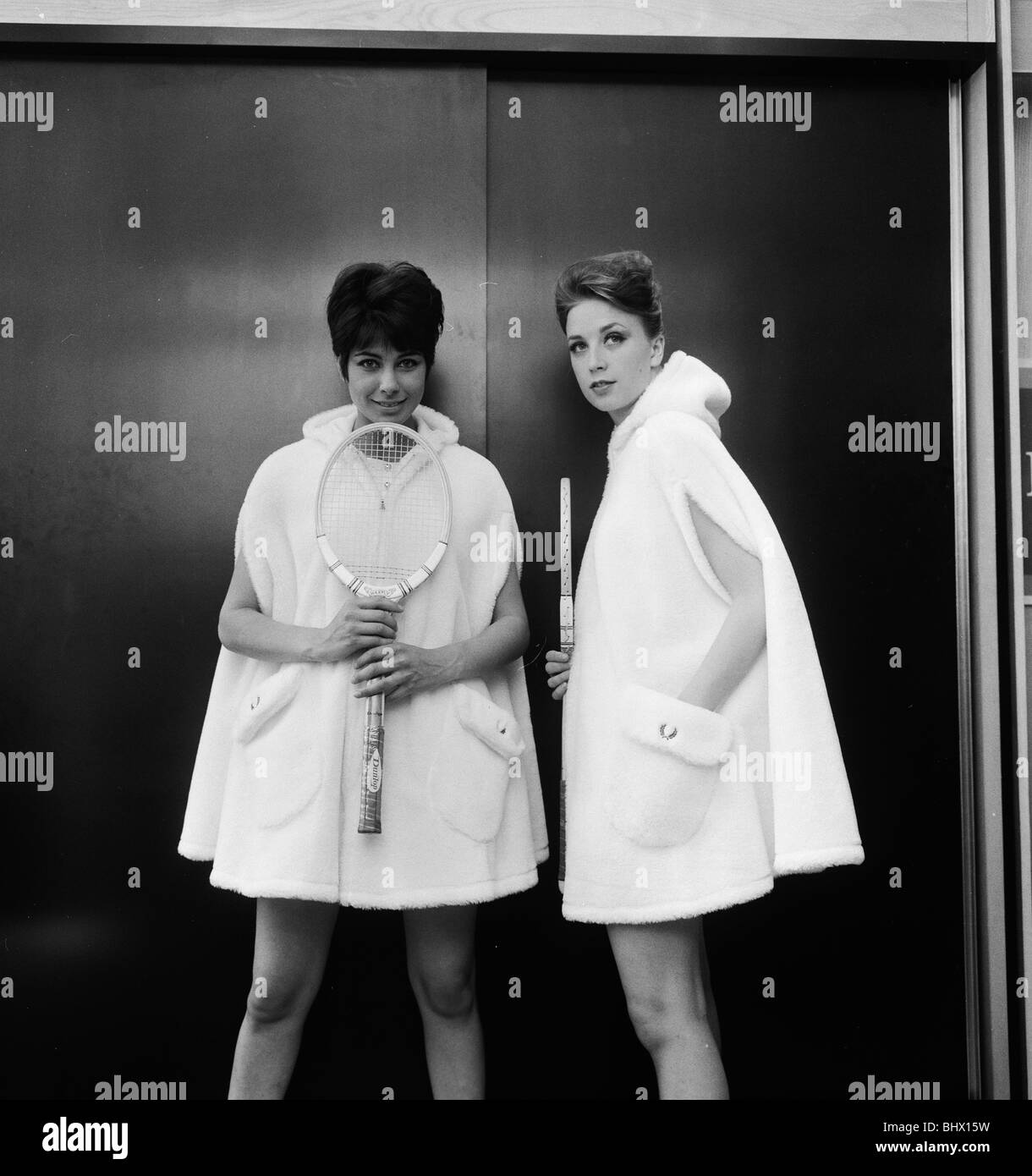 Photocall to showcase new Fred Perry designs for Wimbledon models pictured 12th June 1963. L to R Sandra Russell - Stock Image