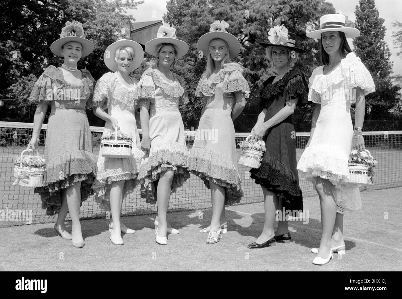 5064def68 Pre - Wimbledon fashion show at the Hurlingham Club. Apres tenis outfits by  Teddy Tinling (left to right) Gloria Butler, Gale