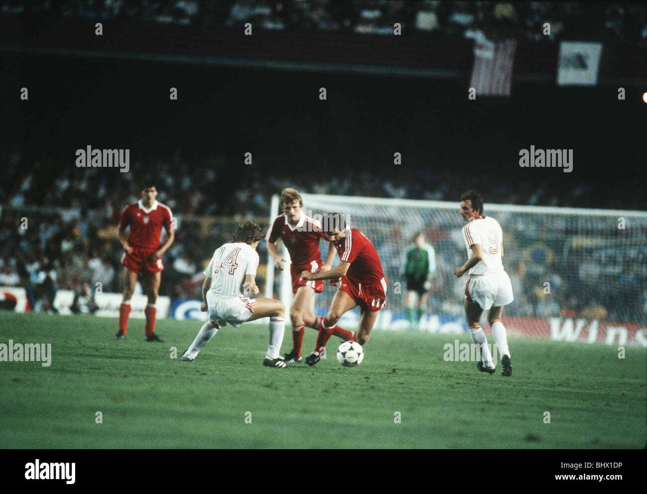Poland v Russia 1982 World Cup Sergei Borovski looks to time his tackle as Wlodimierz Smolarek tries to steam past - Stock Image